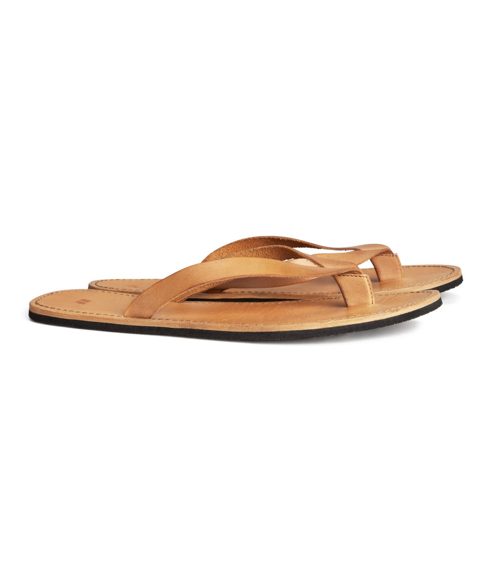 Lyst - Hm Leather Flip-Flops In Brown For Men-5628
