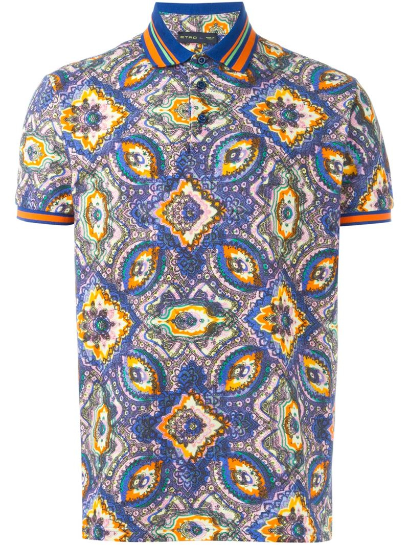 Etro printed polo shirt for men lyst for Etro men s shirts