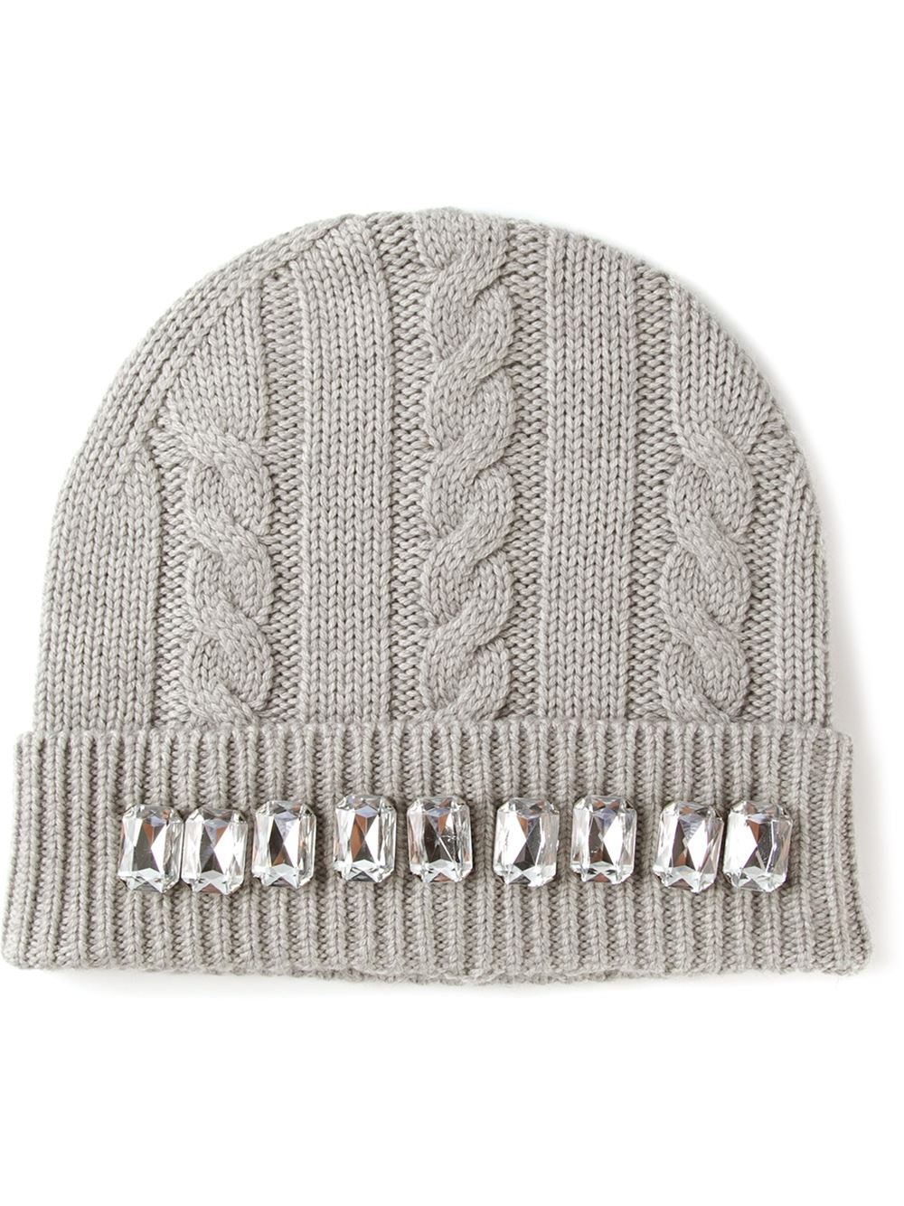 c8c25f48a53 Lyst - Markus Lupfer Embellished Cable Knit Beanie in Gray