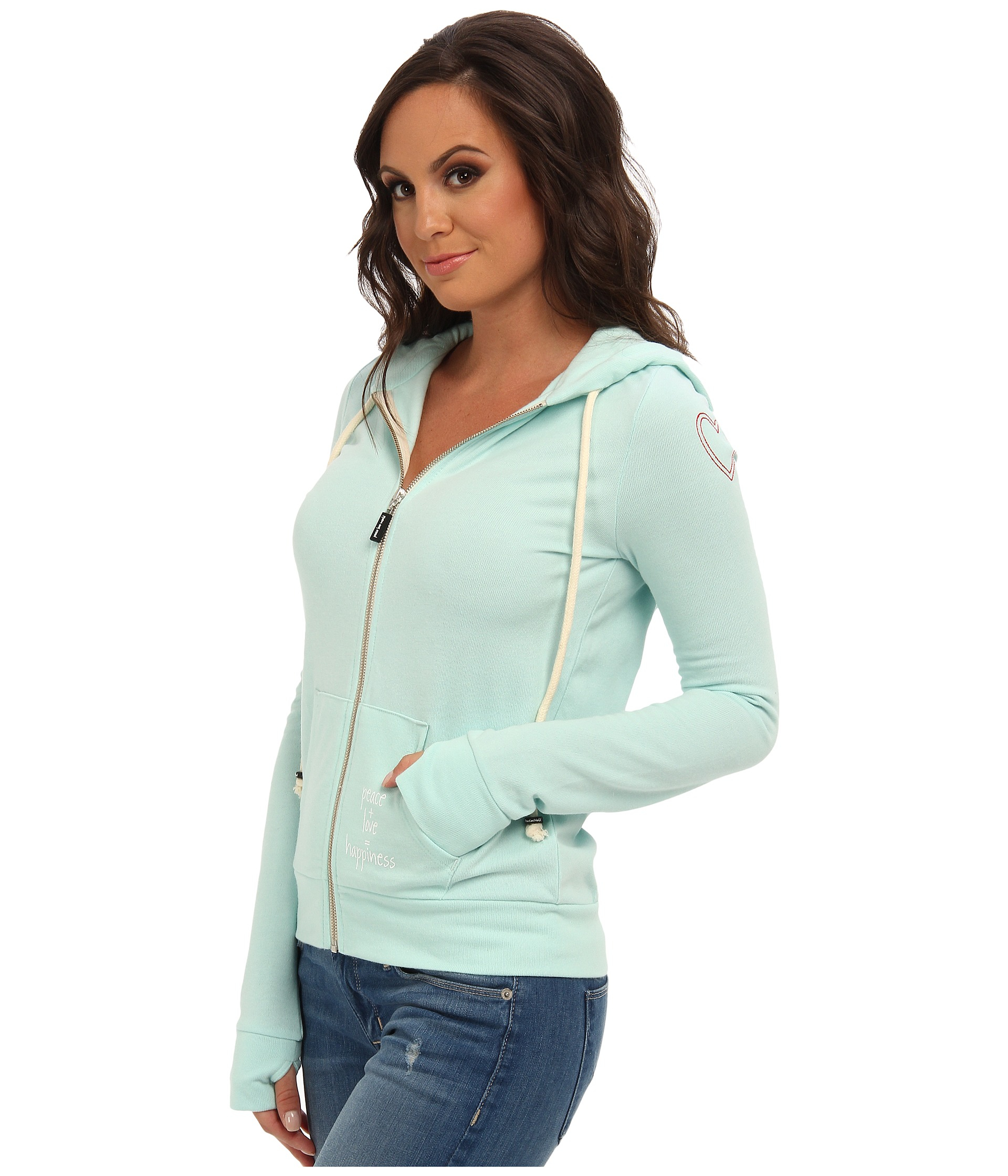 Lyst Peace Love World I Am Happy At Sea Seafoam Ll Light Hoodie In Blue