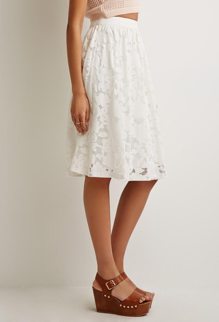 White Lace A Line Skirt - Dress Ala