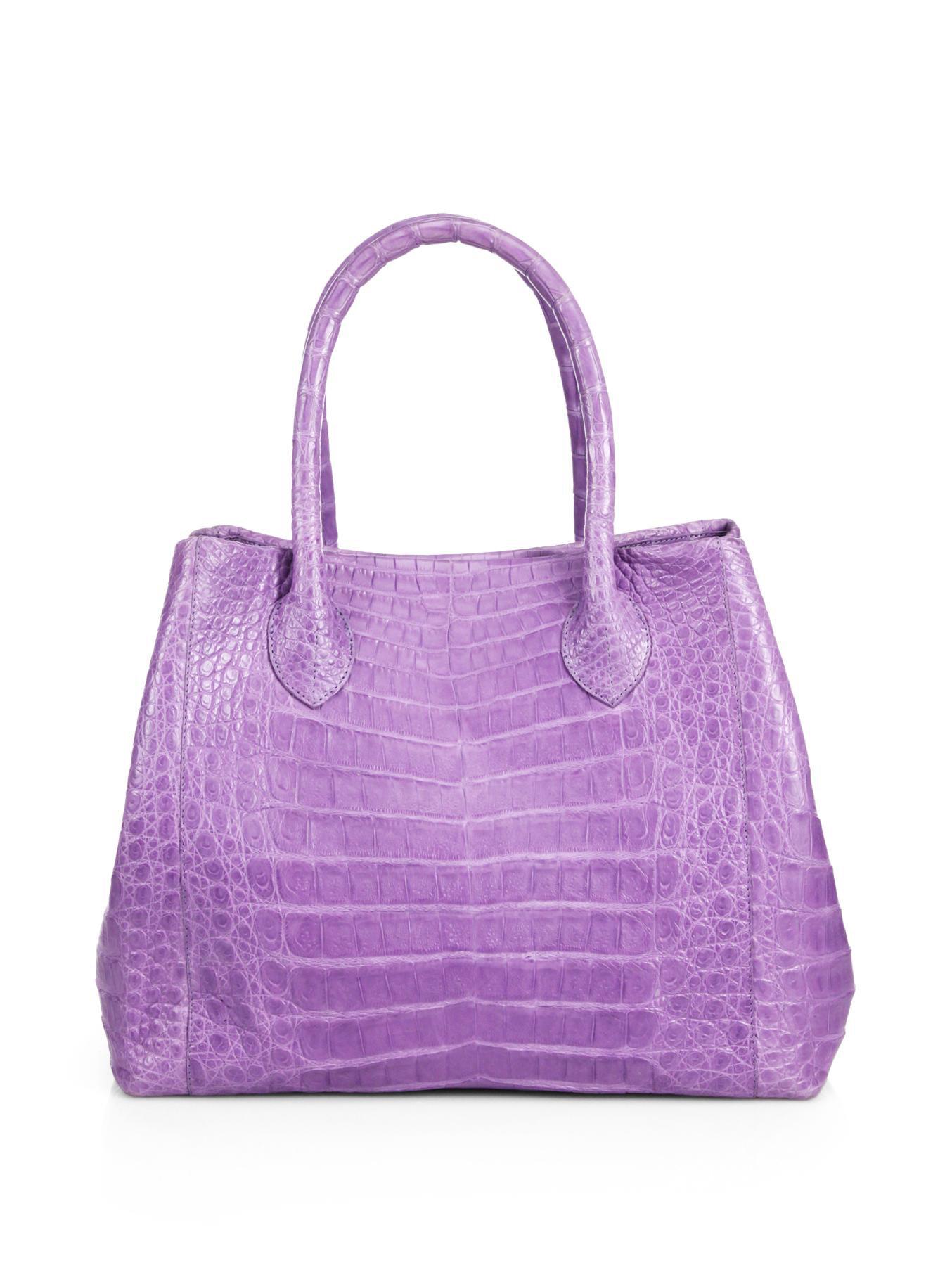 Nancy gonzalez small crocodile expandable tote in purple for Nancy gonzalez crocodile tote