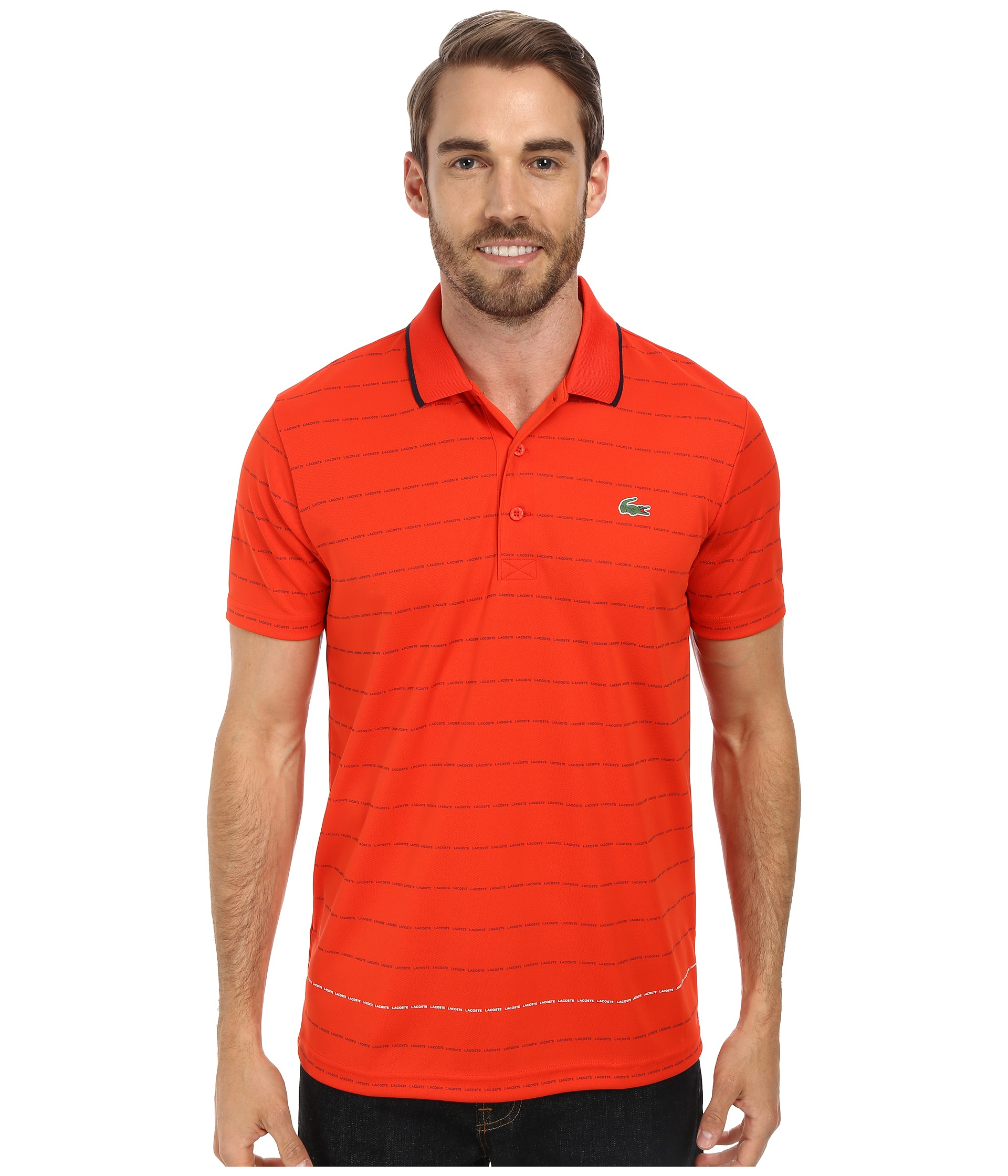 Lyst lacoste sport pique ultra dry stripe polo in red for Lacoste stripe pique polo shirt