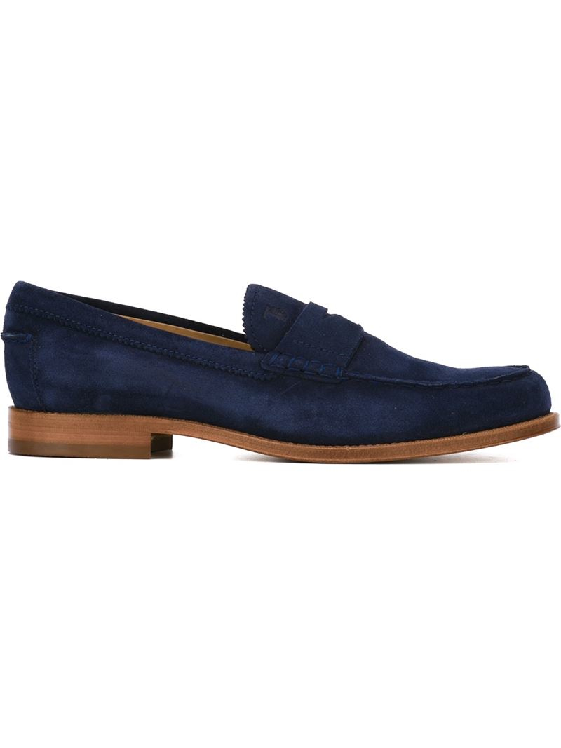 Tod S Tods Suede Loafers In Blue For Men Save 60 Lyst