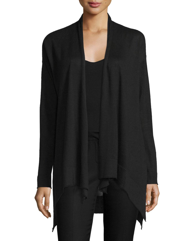 donna karan drape front cozy cashmere sweater in black lyst. Black Bedroom Furniture Sets. Home Design Ideas