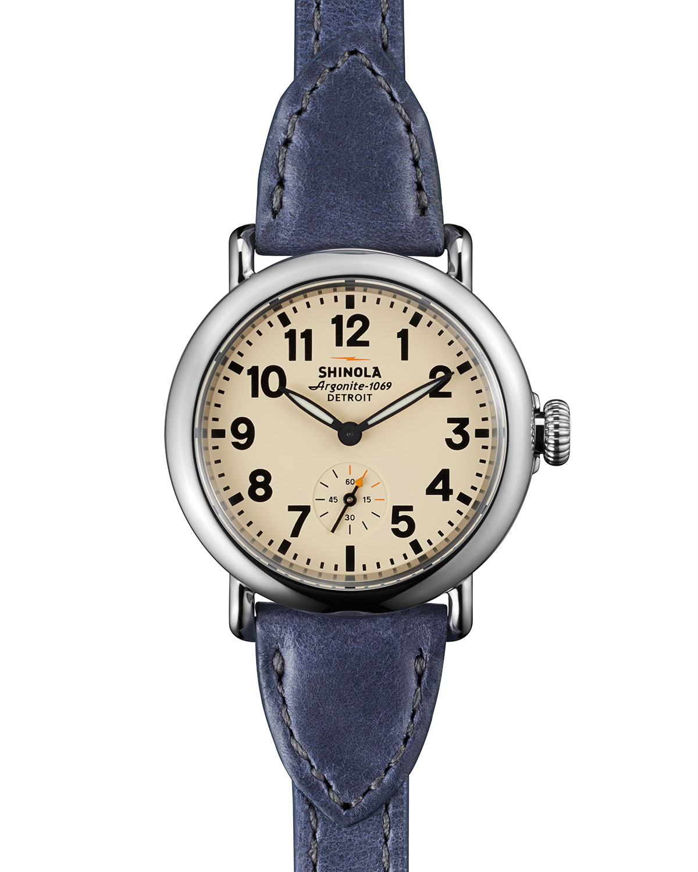 Shinola runwell leather triple wrap watch in blue lyst for Shinola watches