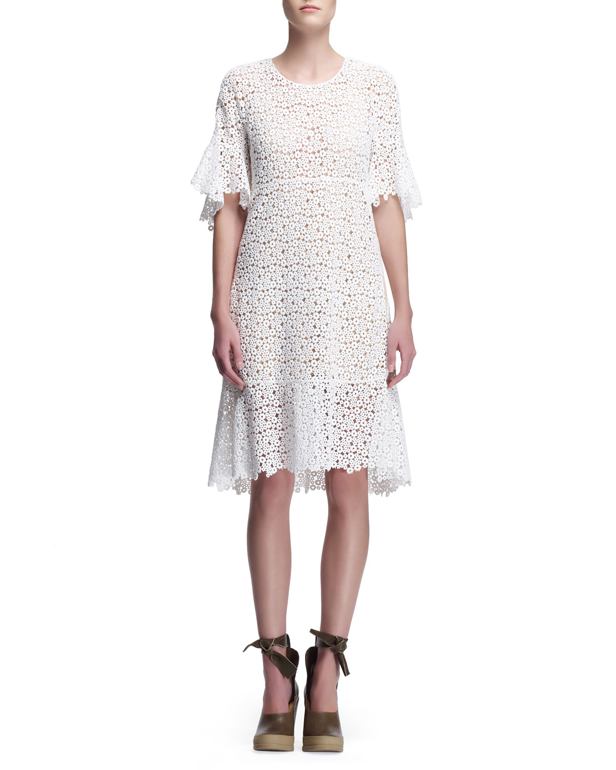 Chlo 233 Guipure Lace Dress With Flared Hem In White