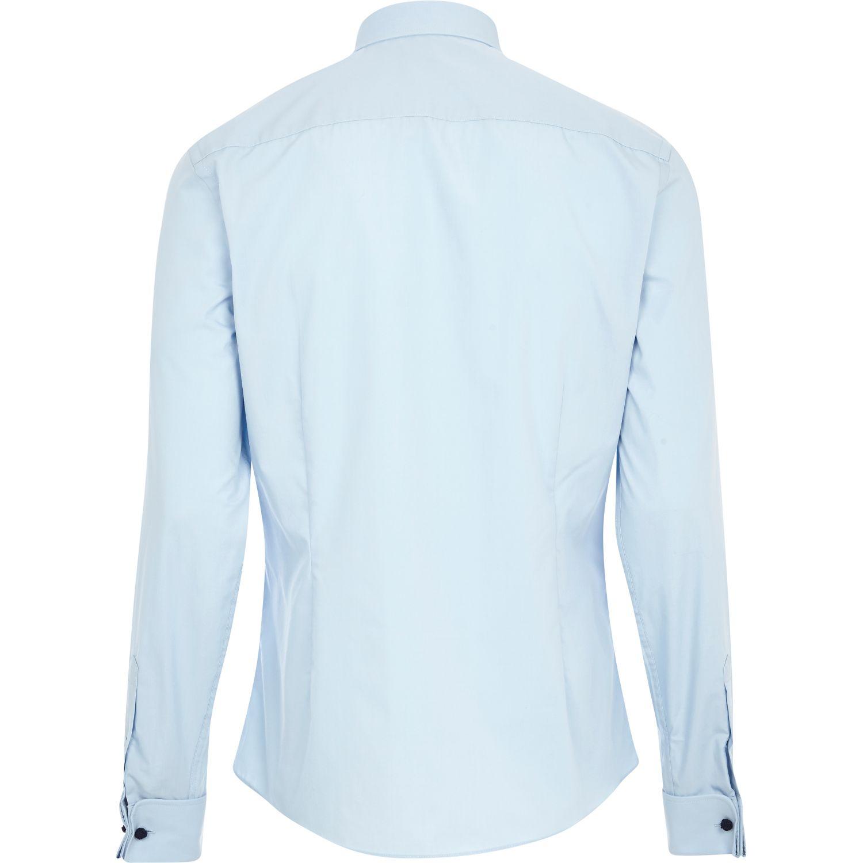 River Island Light Blue Double Cuff Long Sleeve Shirt In