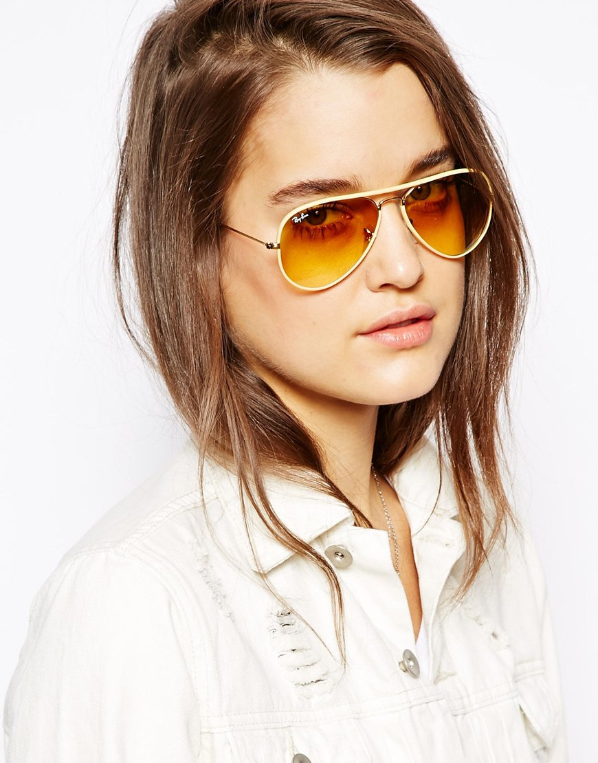 ray ban aviator yellow glass  yellow ray ban aviators