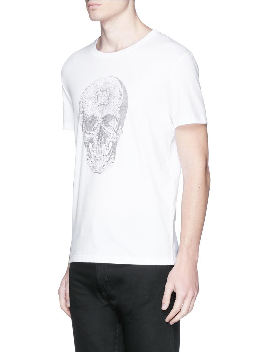 Alexander mcqueen crystal skull print t shirt in white for for Alexander mcqueen shirt men