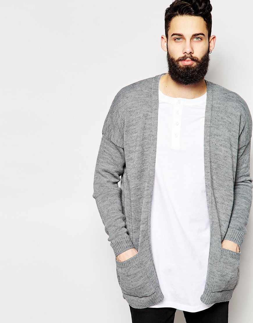 Asos Longline Cardigan With Open Front in Gray for Men | Lyst