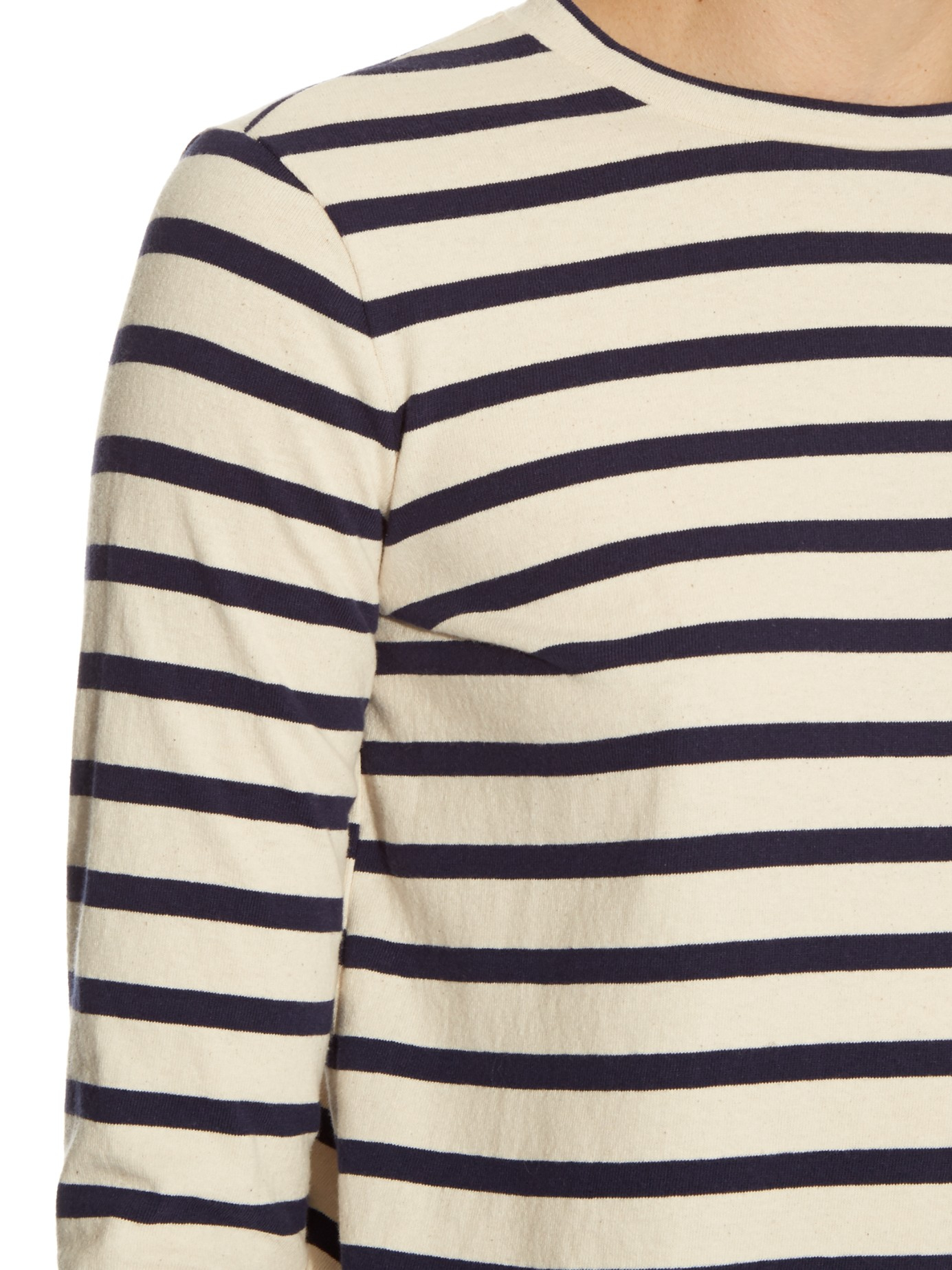 Raey striped crew neck long sleeved t shirt in blue lyst for Navy blue striped long sleeve shirt