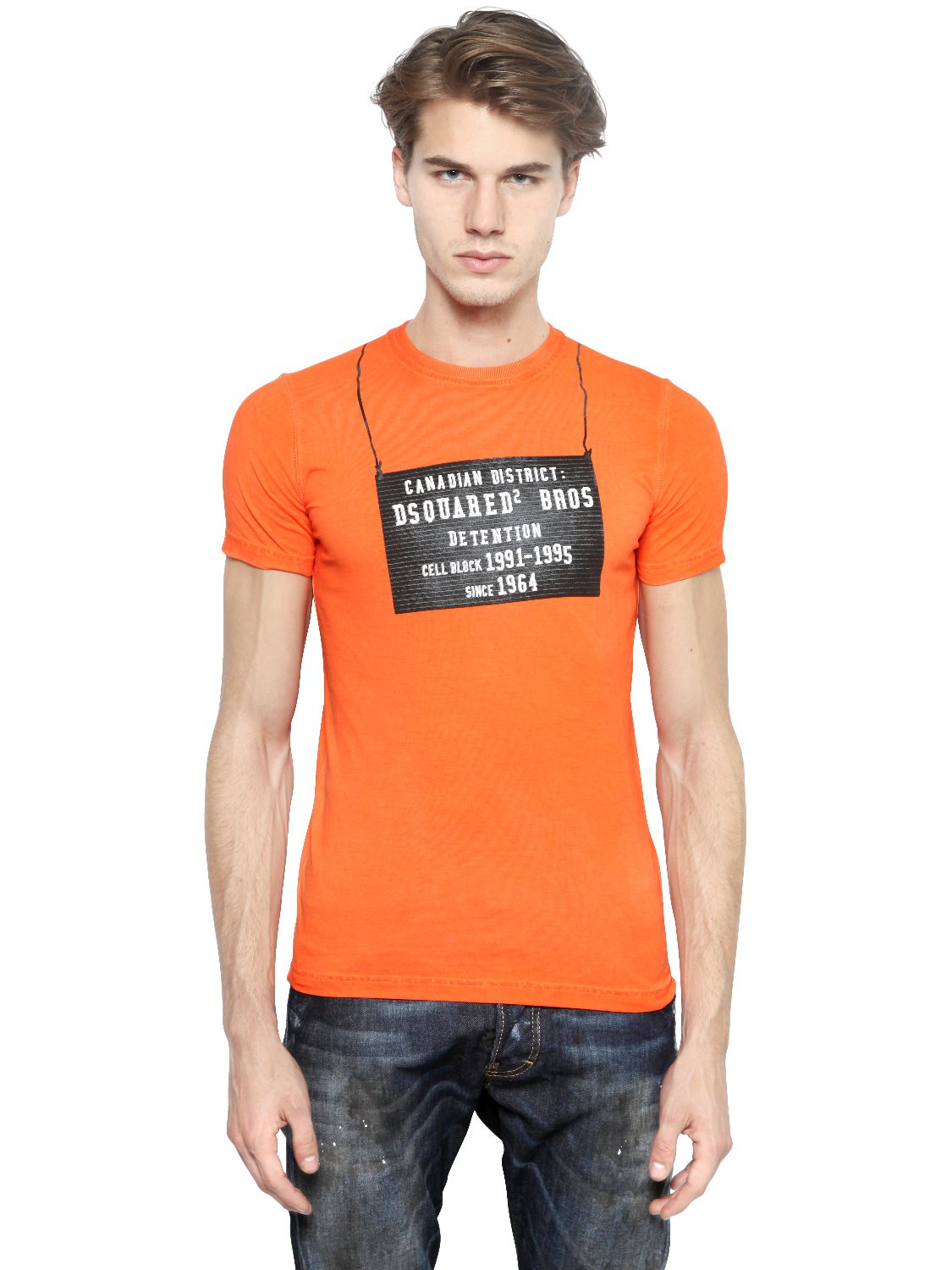 lyst dsquared printed faded slim fit cotton t shirt. Black Bedroom Furniture Sets. Home Design Ideas