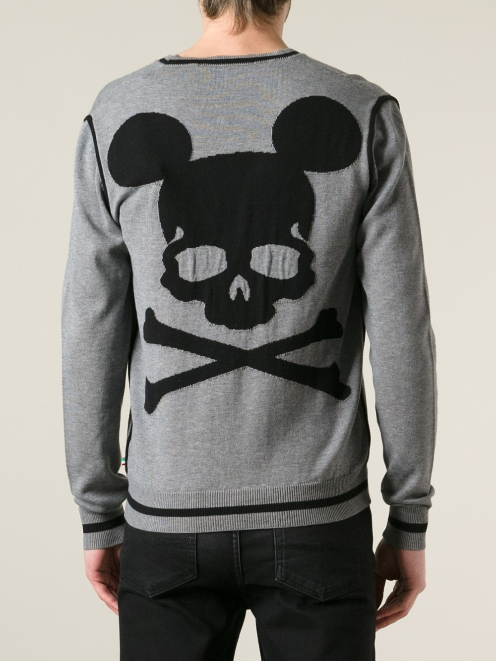 lyst philipp plein skull mouse sweater in gray for men. Black Bedroom Furniture Sets. Home Design Ideas