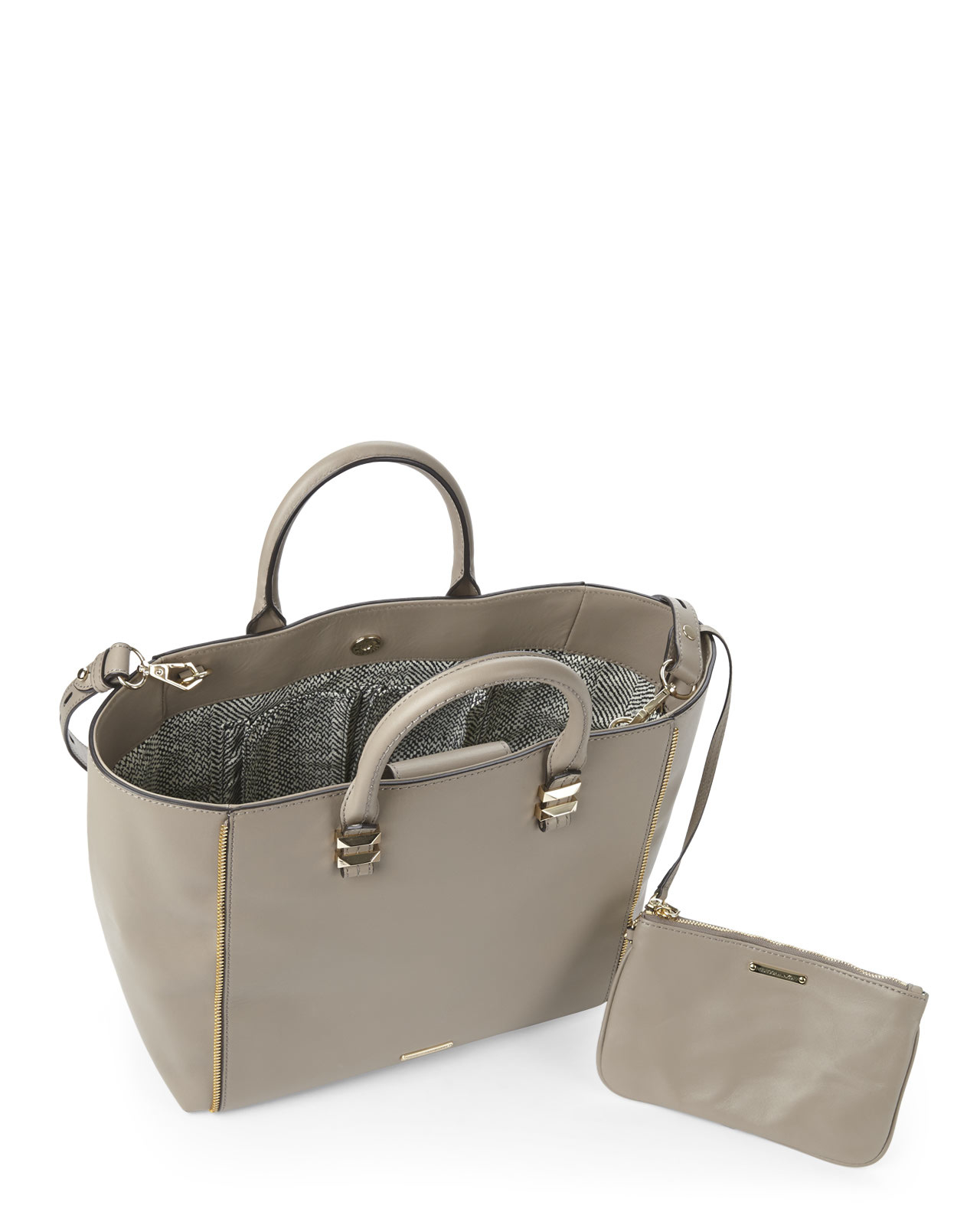 Rebecca minkoff taupe mini perry tote in brown lyst Sdb chocolat taupe