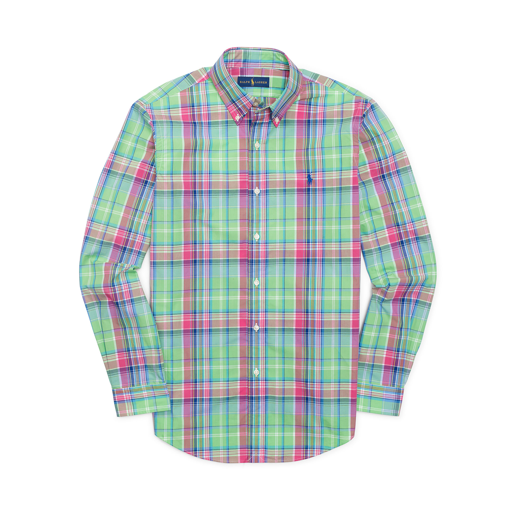 For Men Shirt Polo Ralph Plaid Lauren Multicolor Cotton Poplin 1lJcFK3T