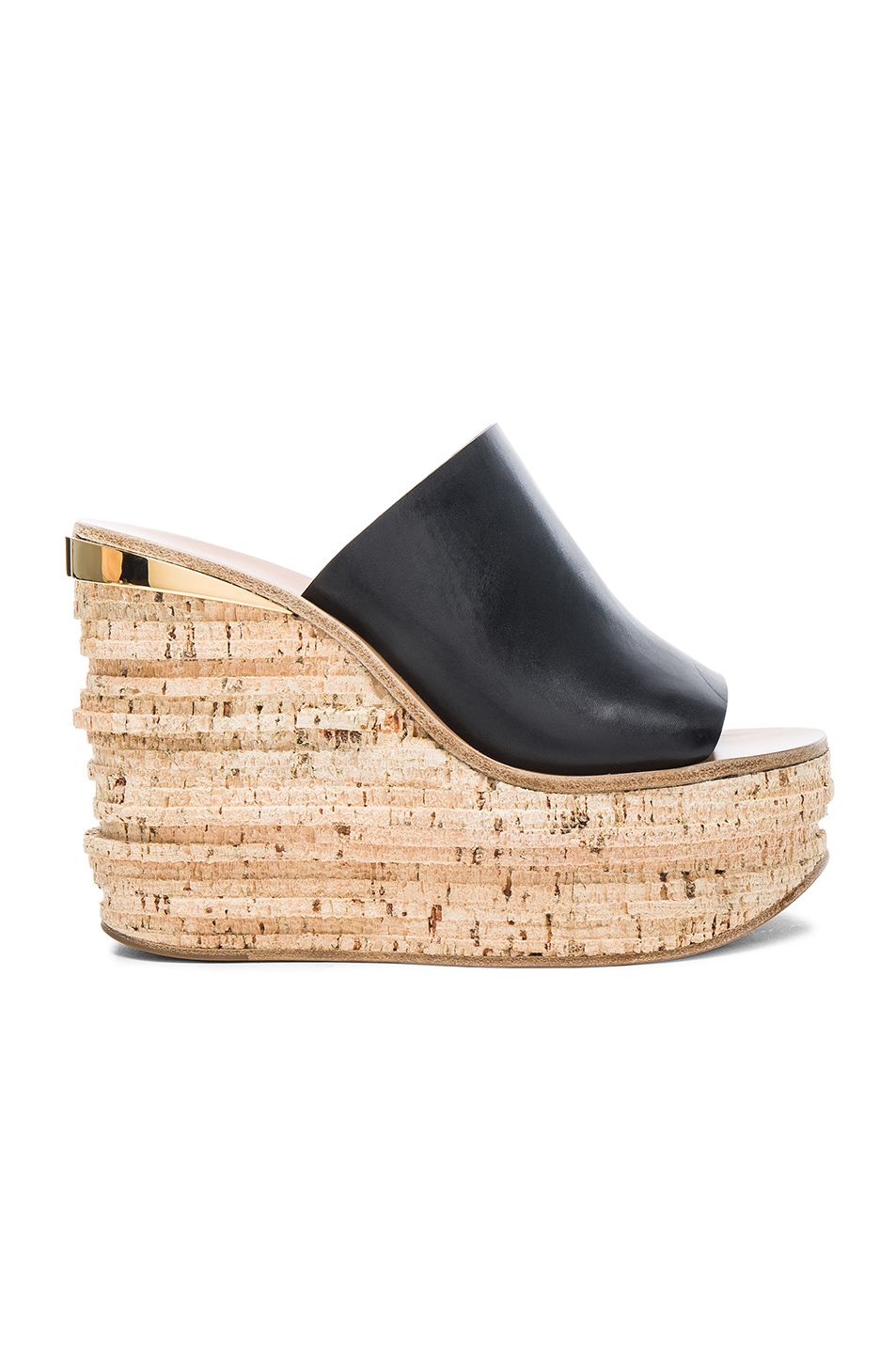 Lyst Chlo 233 Camille Leather Wedge Sandals In Black
