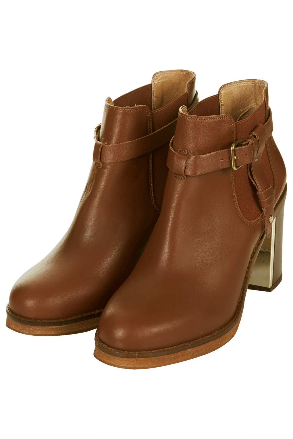 Topshop Womens Mine Leather Buckled Ankle Boots Tan in Brown | Lyst