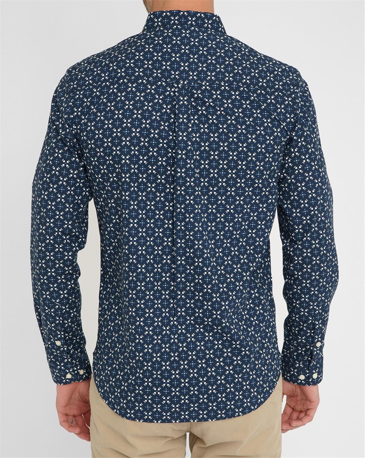 knowledge cotton apparel blue owl print shirt in blue for men lyst. Black Bedroom Furniture Sets. Home Design Ideas