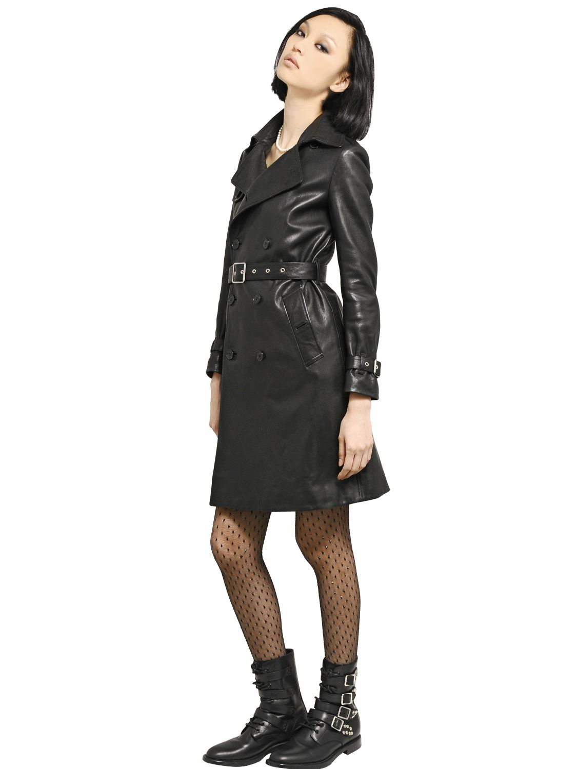 4e0965dbb6fe0 Lyst - Saint Laurent Double Breasted Soft Leather Trench .