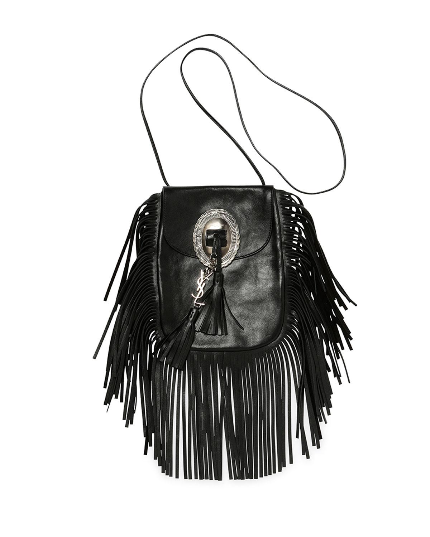 38538f81d4 small monogram saint laurent fringed crossbody bag in black leather