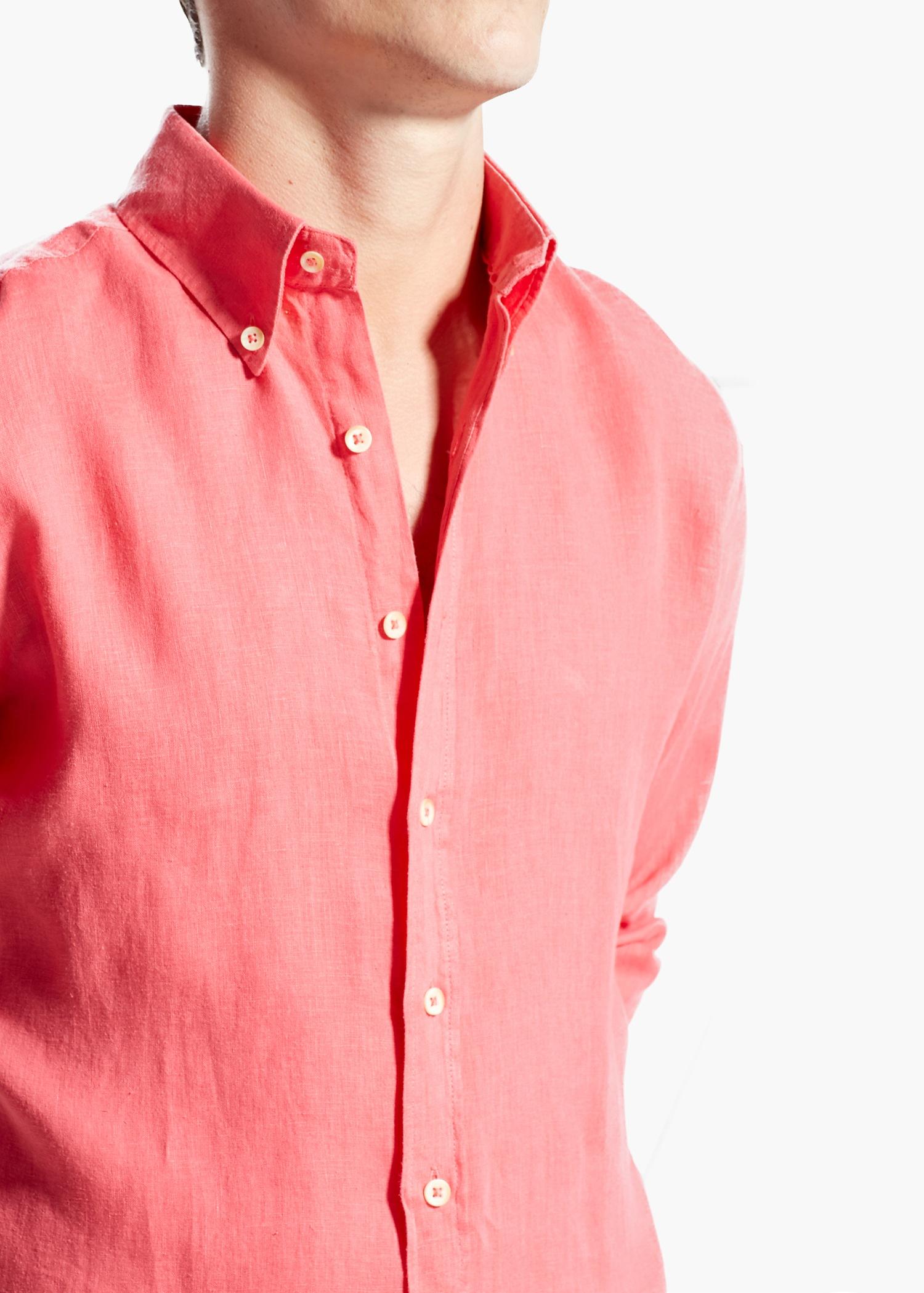 Mango Slim-Fit Linen Shirt in Pink for Men | Lyst