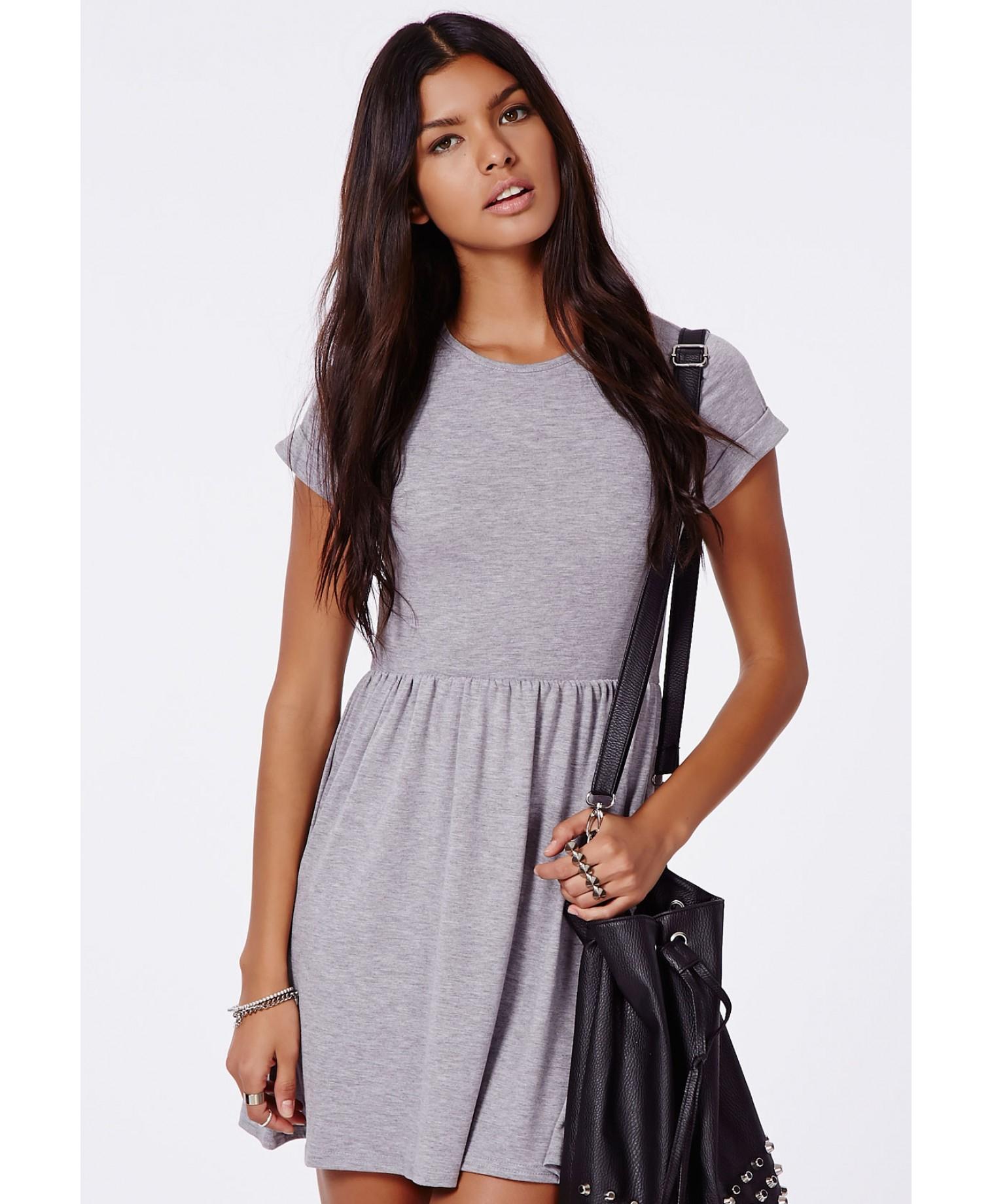 437307bb611d Lyst - Missguided Aliveta T-Shirt Skater Dress in Gray