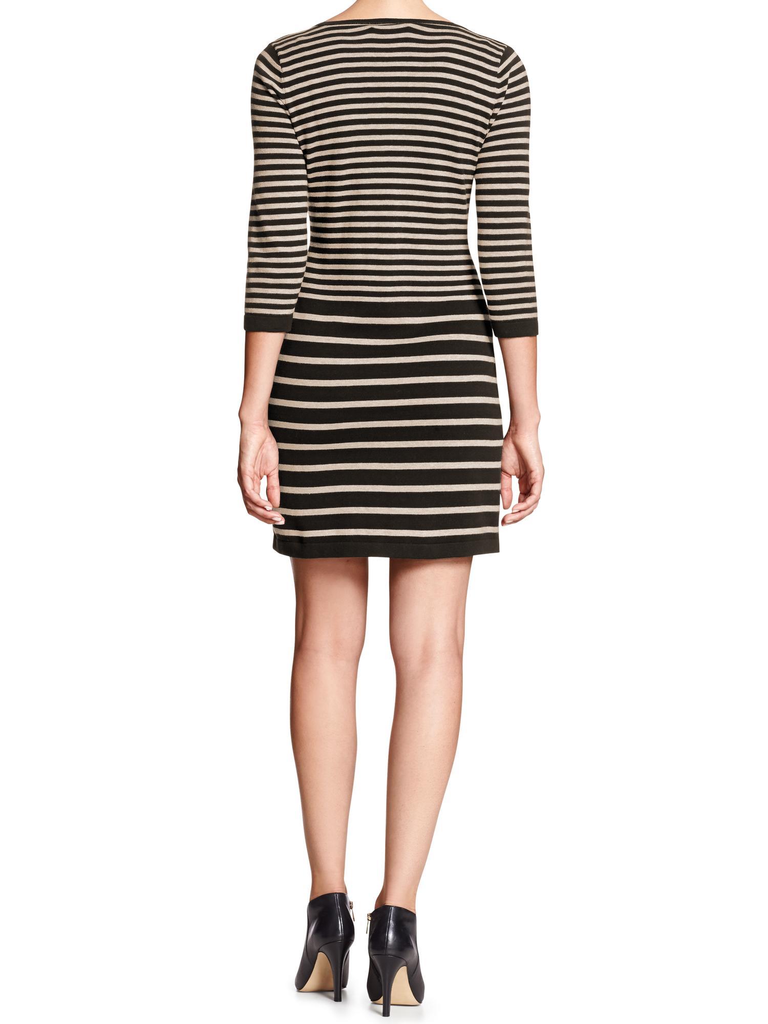 Banana Republic Factory Mixed Stripe Sweater Dress Black