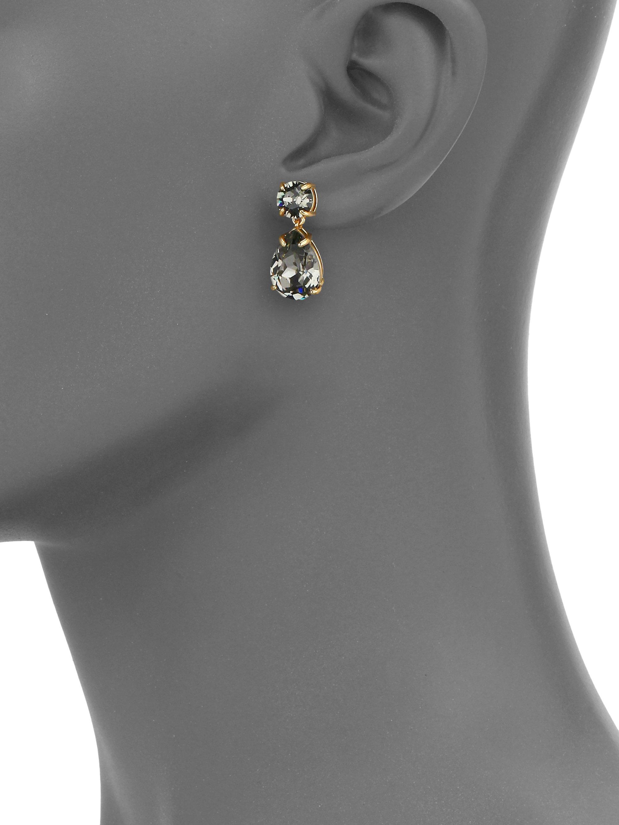 647db52794a4 Kate Spade Fancy That Crystal Double-drop Earrings/grey in Gray - Lyst
