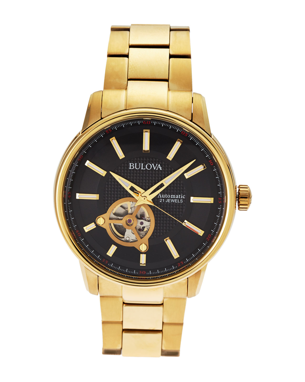 bulova 97a114 gold tone black s in metallic