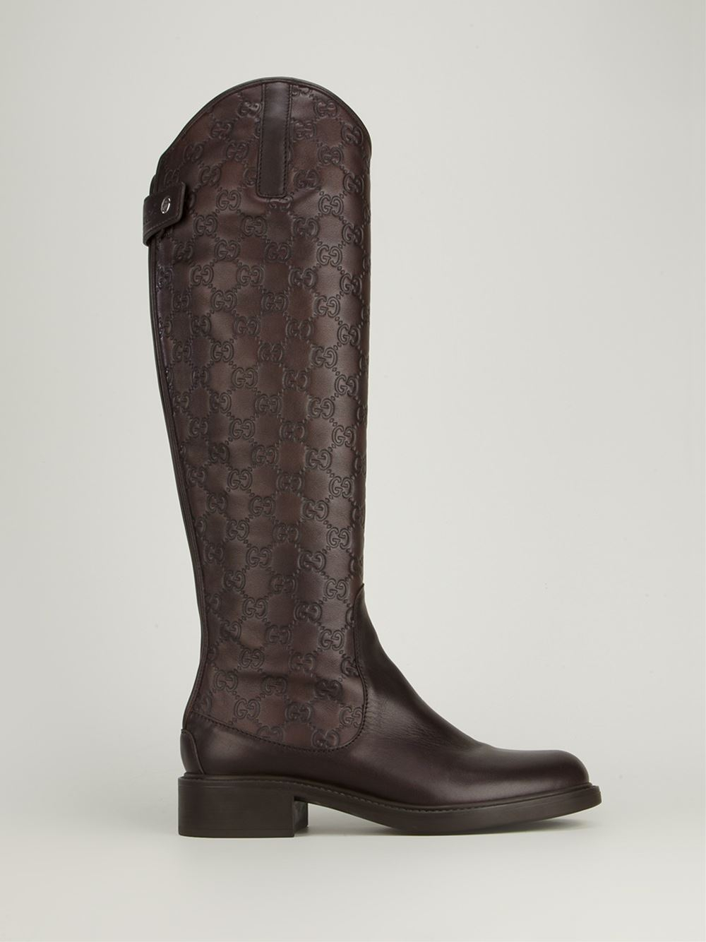 gucci calf length boot in brown lyst