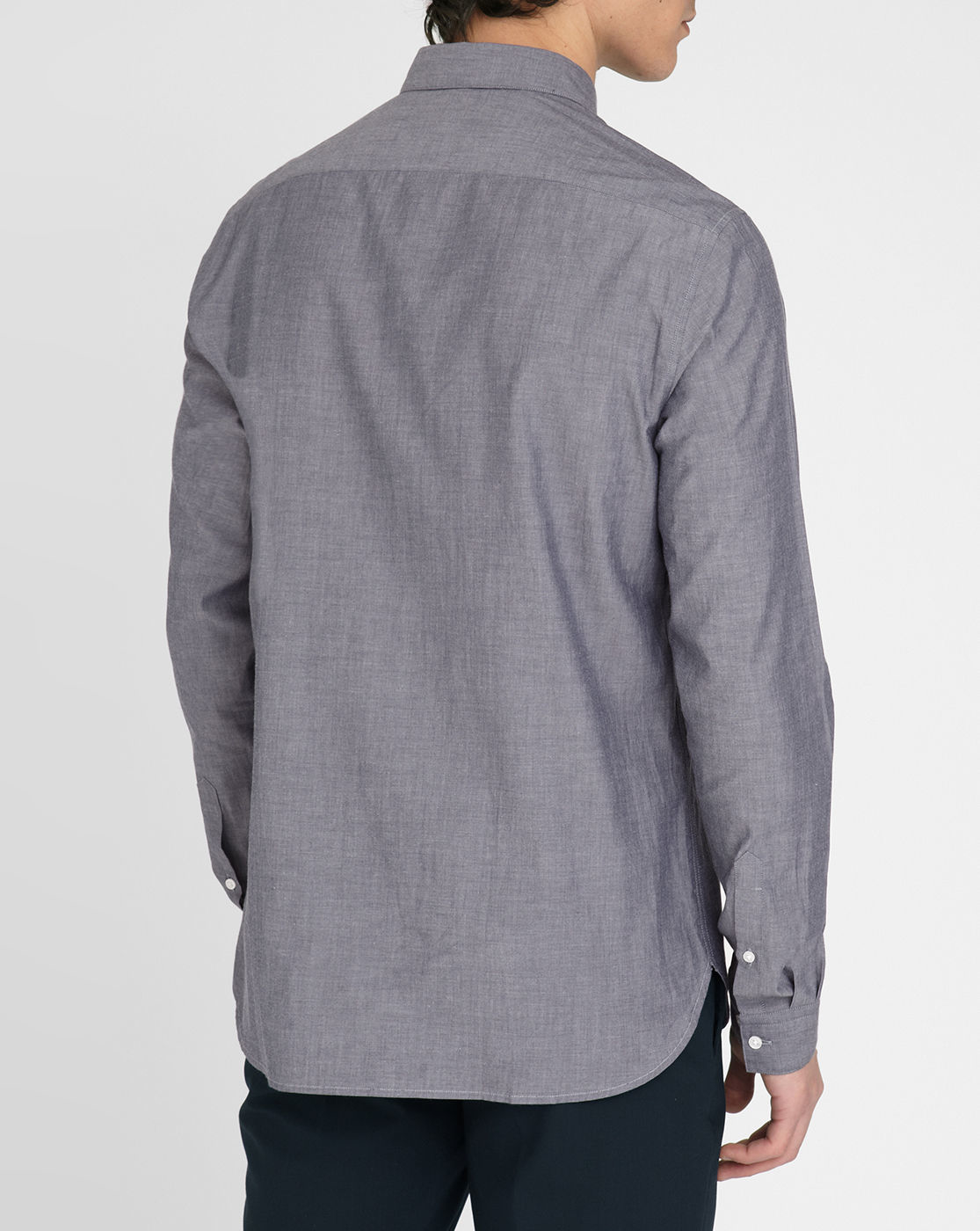 Amare grey blue chambray cotton shirt straight for Small collar dress shirt