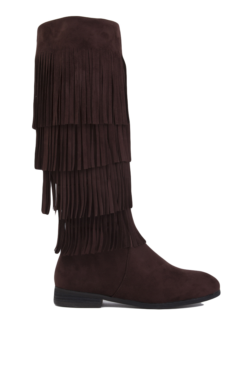 Akira black label 4 Layer Fringe Boots in Brown | Lyst