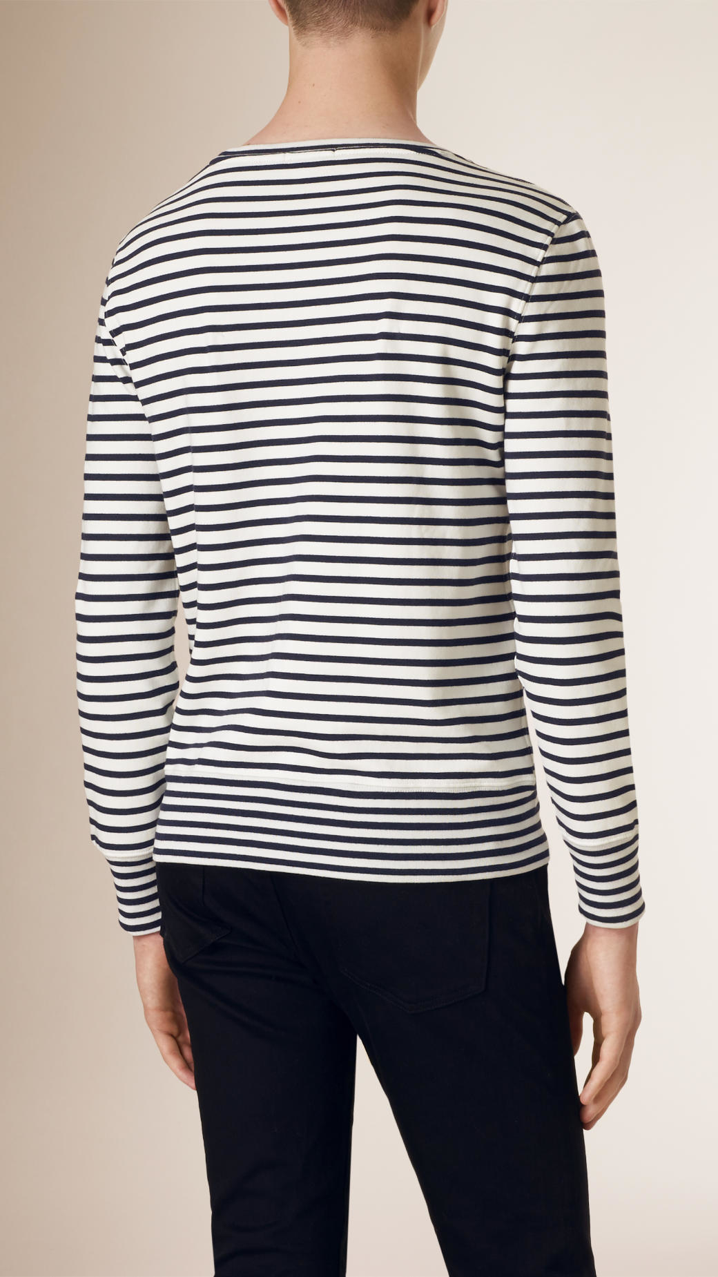 Burberry Striped Cotton Jersey Sweater in Blue for Men | Lyst