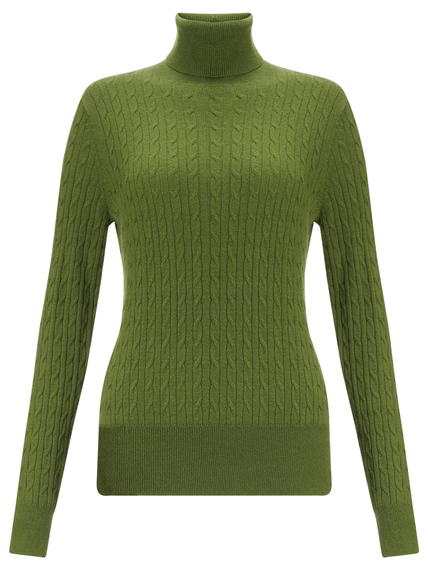 John Lewis Cable Roll Neck Sweater in Moss (Green)