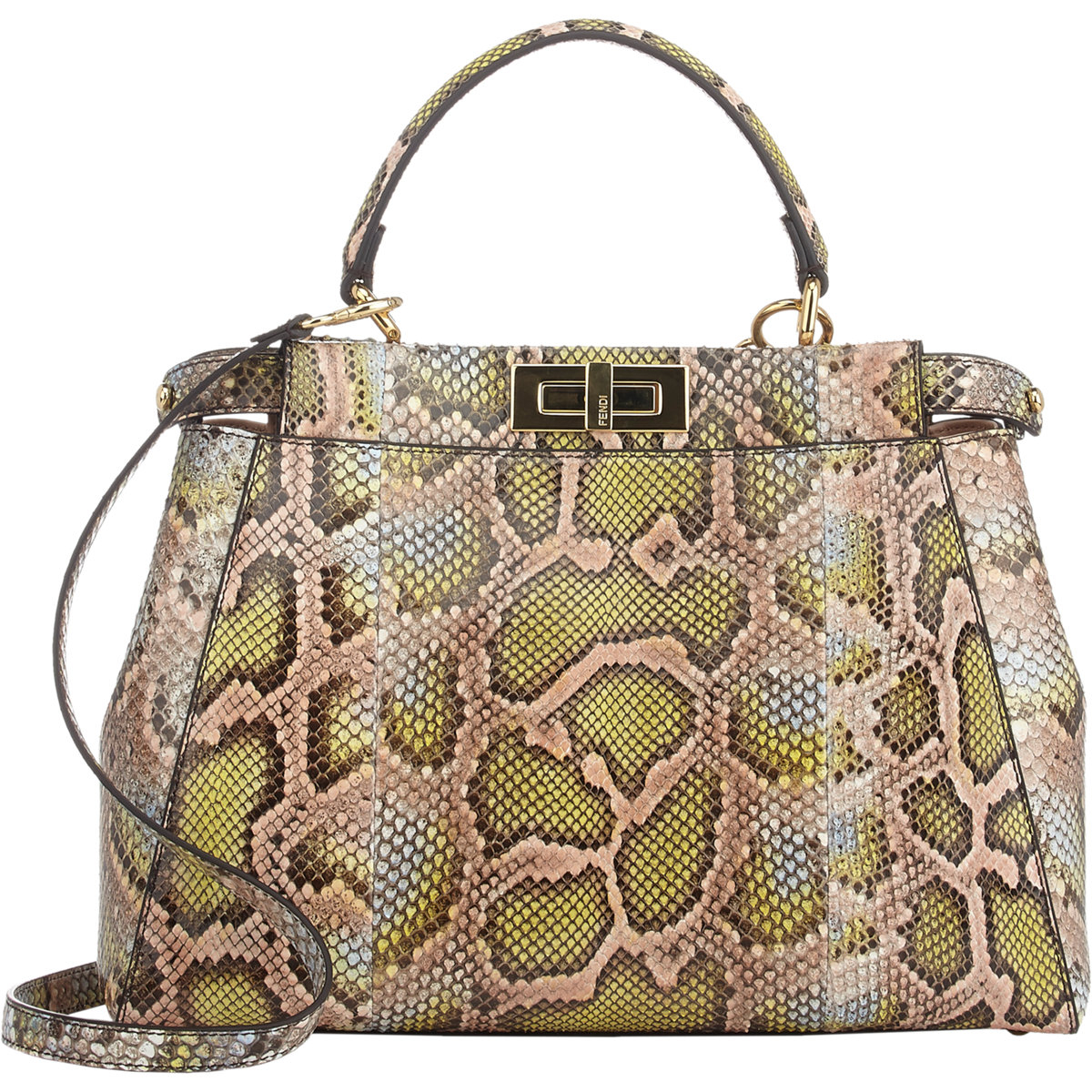 Lyst - Fendi Python Peekaboo Bag in Natural be5e48b4d29e2