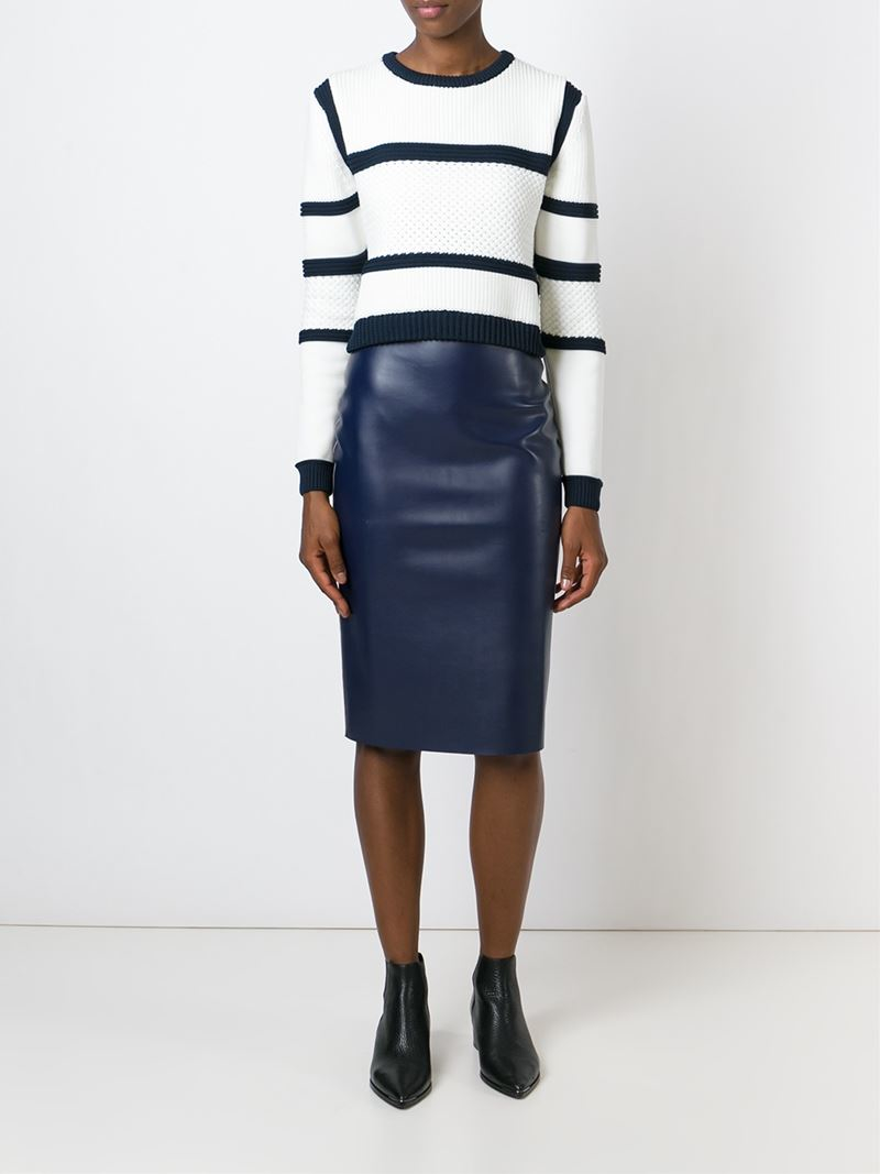 msgm faux leather pencil skirt in blue lyst
