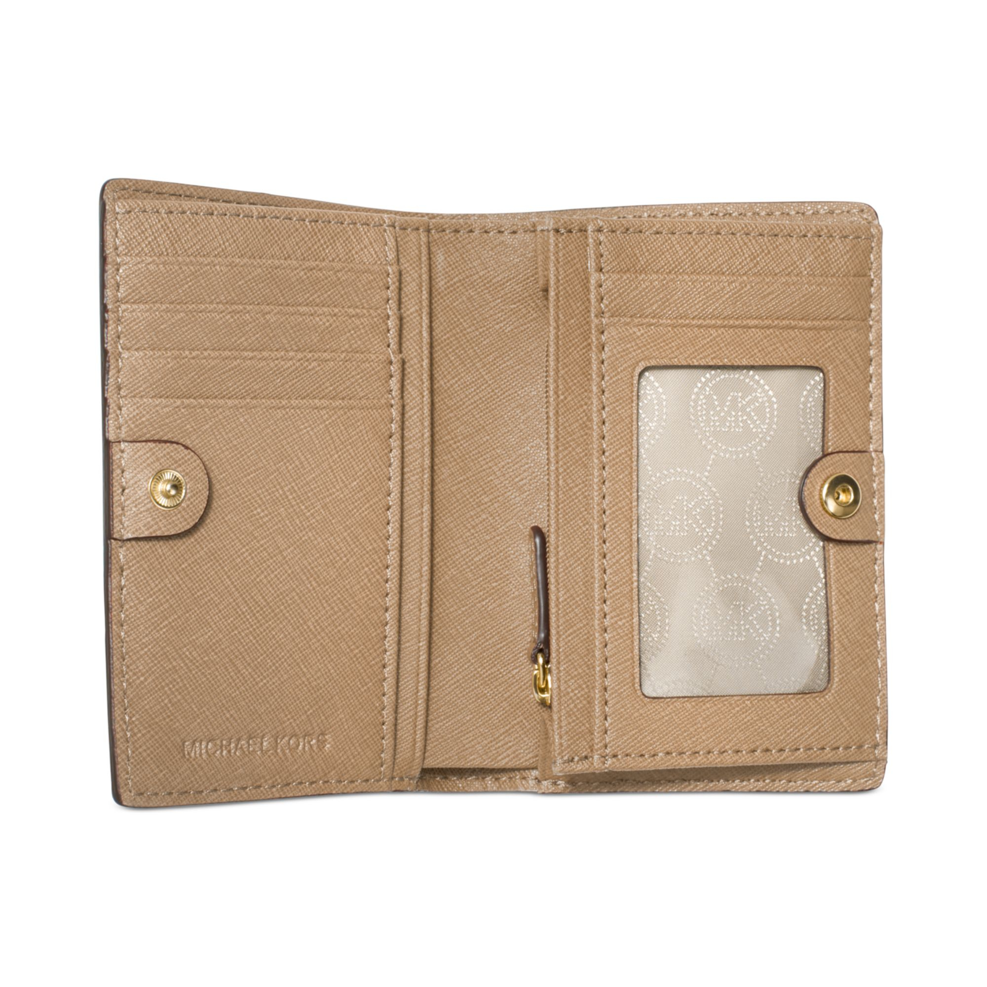 45f64da322f3b Lyst - Michael Kors Michael Jet Set Travel Medium Slim Wallet in Natural