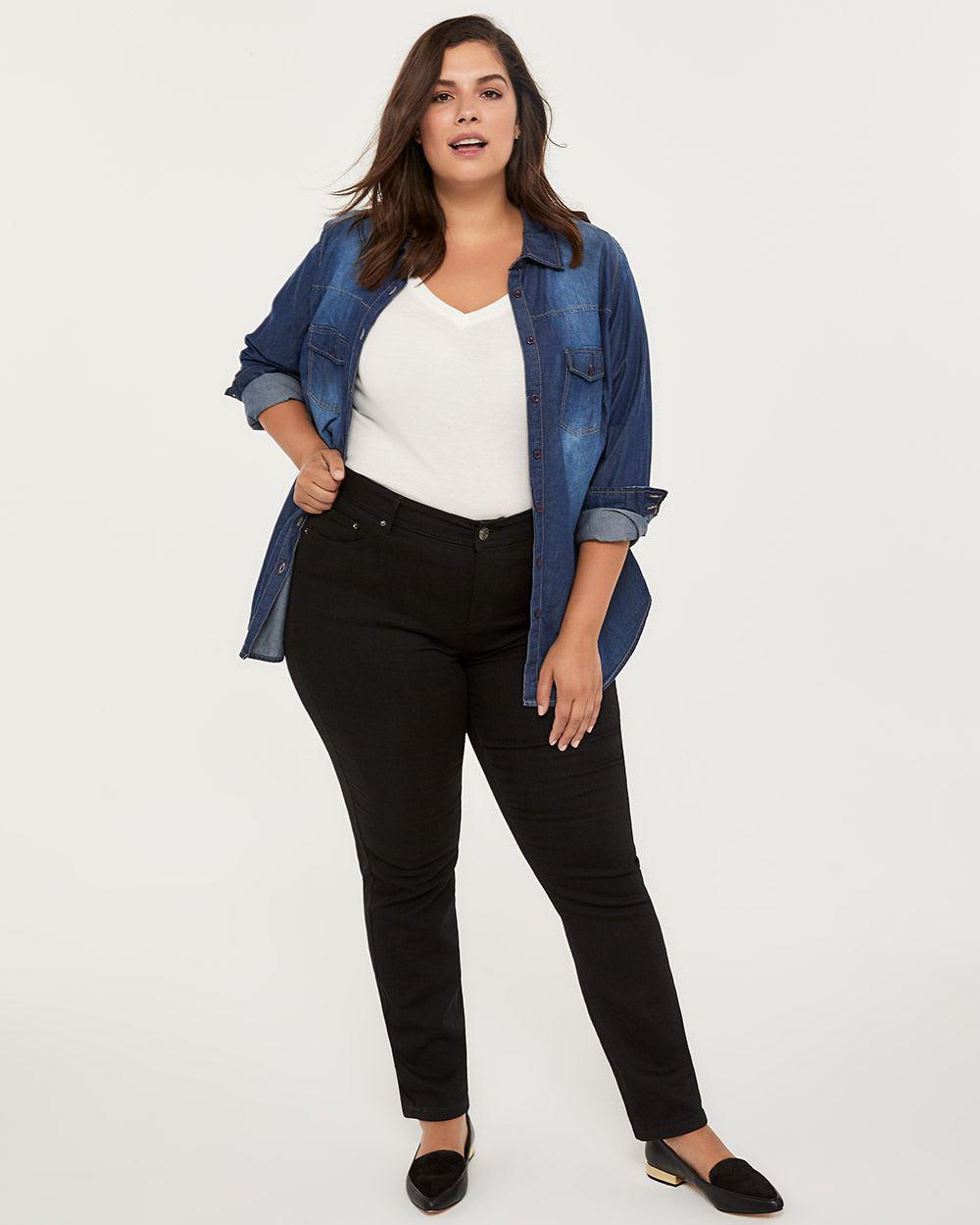 5c61c89f34faaf Addition Elle. Women's Petite Slightly Curvy Fit Straight Leg Black Jean ...