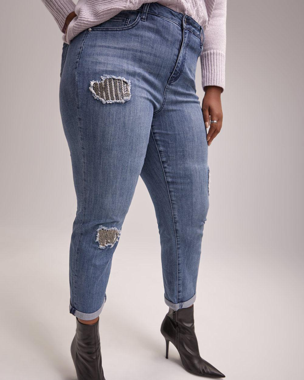 b653e4910aa Addition Elle. Women s Blue Slightly Curvy Straight Leg Girlfriend Jean ...