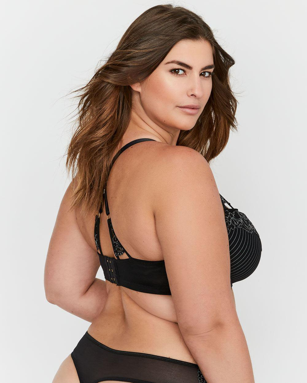 18649e319c4fc Lyst - Addition Elle Ashley Graham Lace And Striped Showstopper Bra in Black