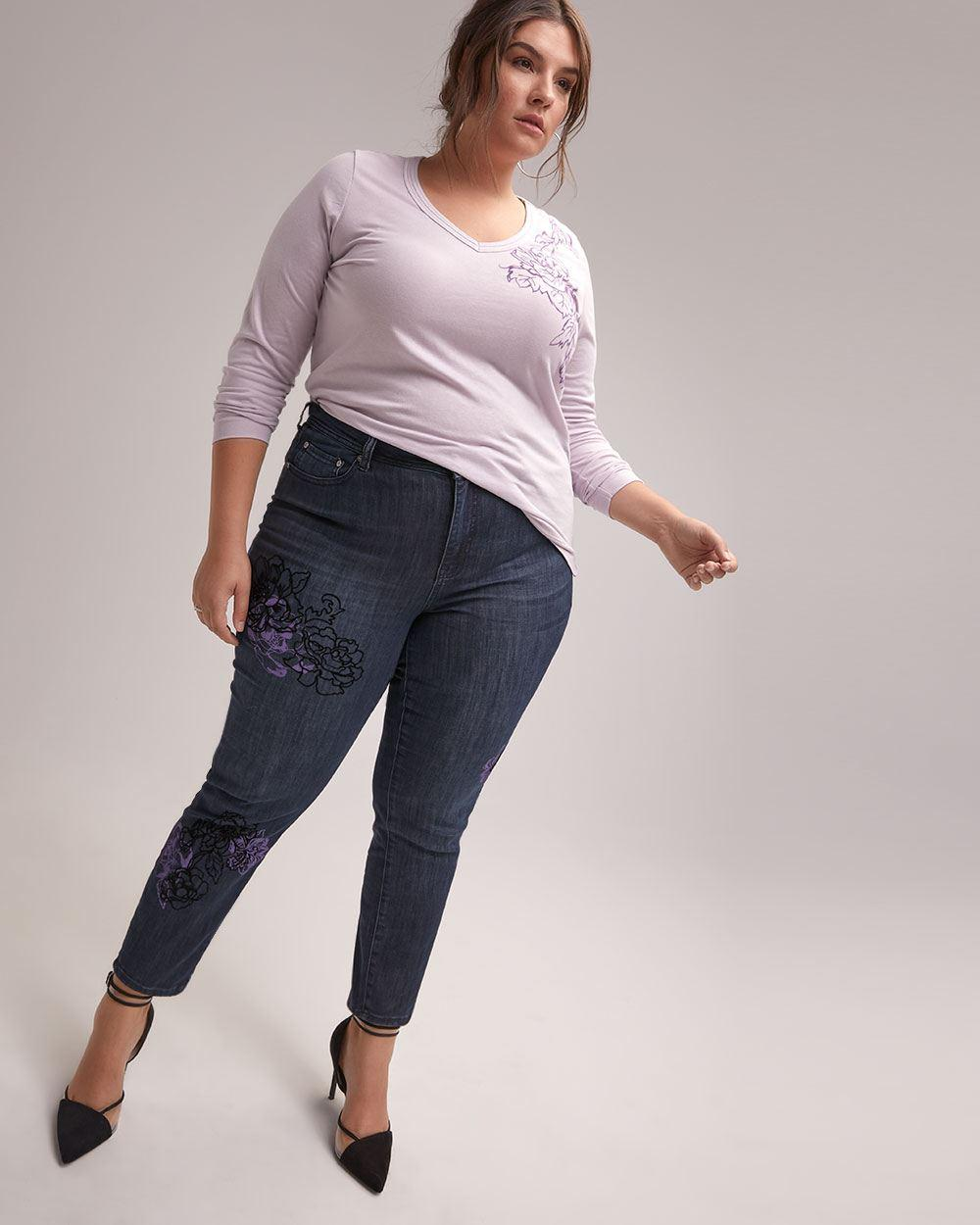 c5e906d2d16 Addition Elle. Women s Blue Online Only - Tall Slightly Curvy Straight Leg  Girlfriend Jean ...