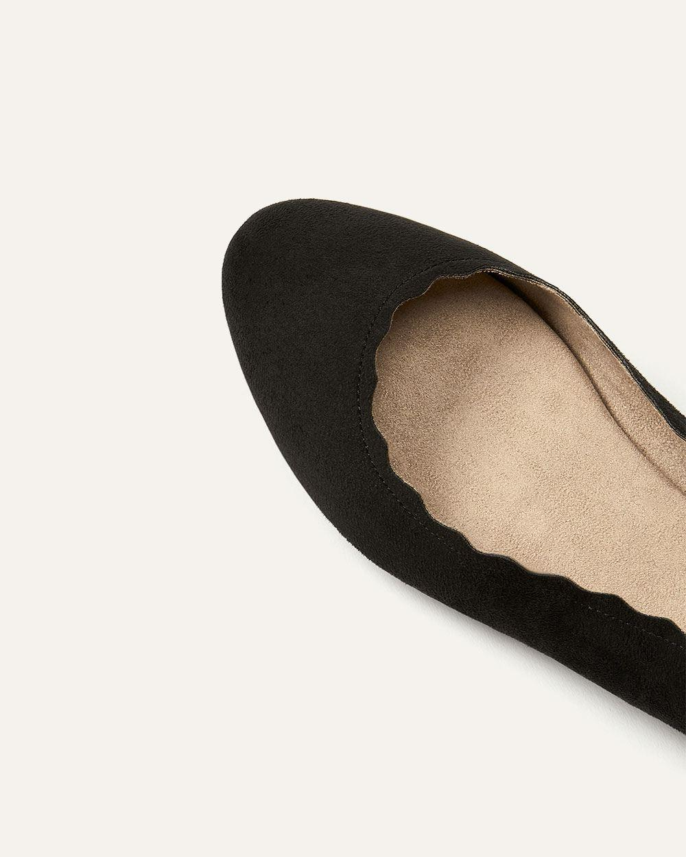 f47924224 Lyst - Addition Elle Wide Scalloped Ballerina Flats in Black