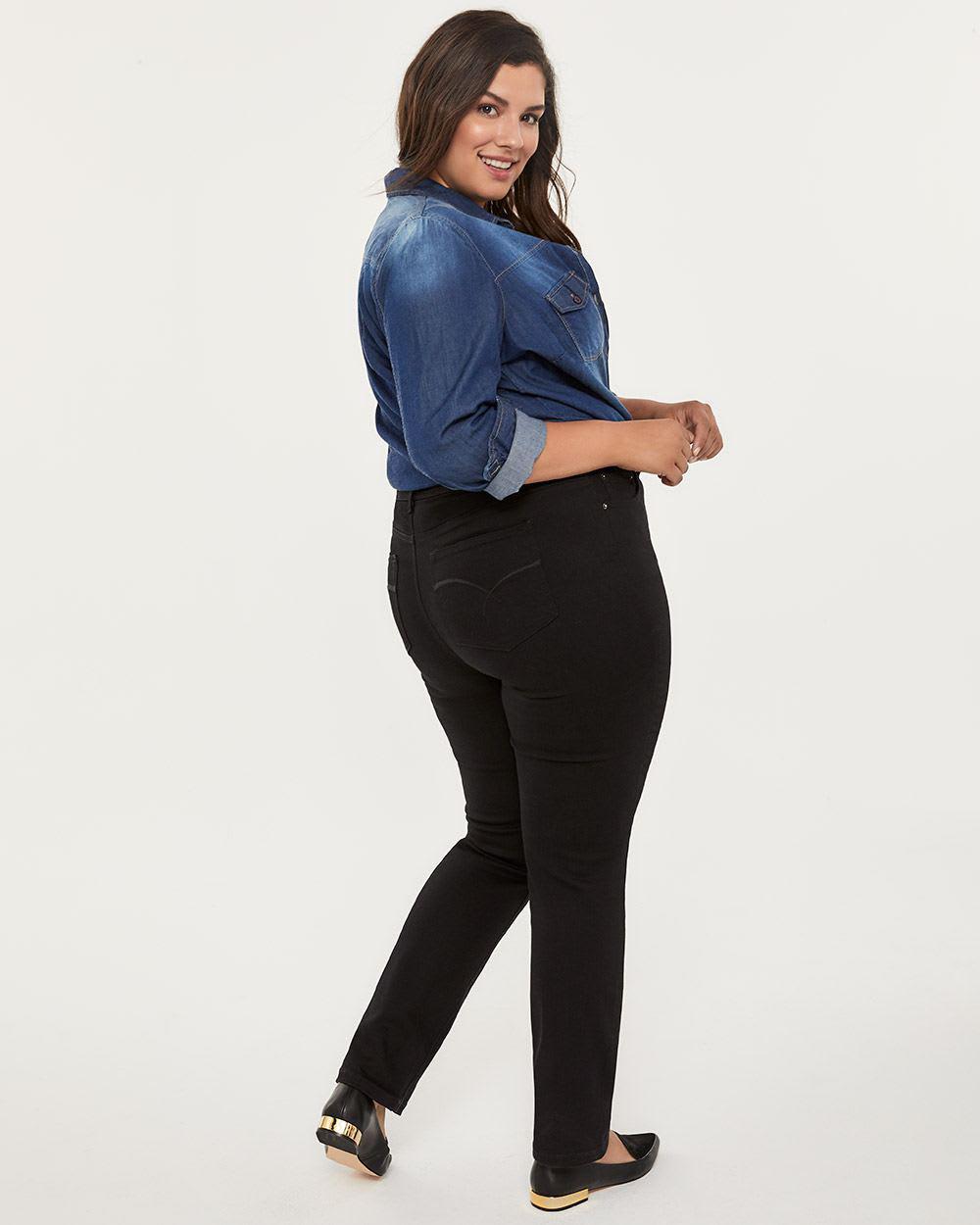 c0fe7b0b080e45 Lyst - Addition Elle Petite Slightly Curvy Fit Straight Leg Black Jean -  D/c Jeans in Black
