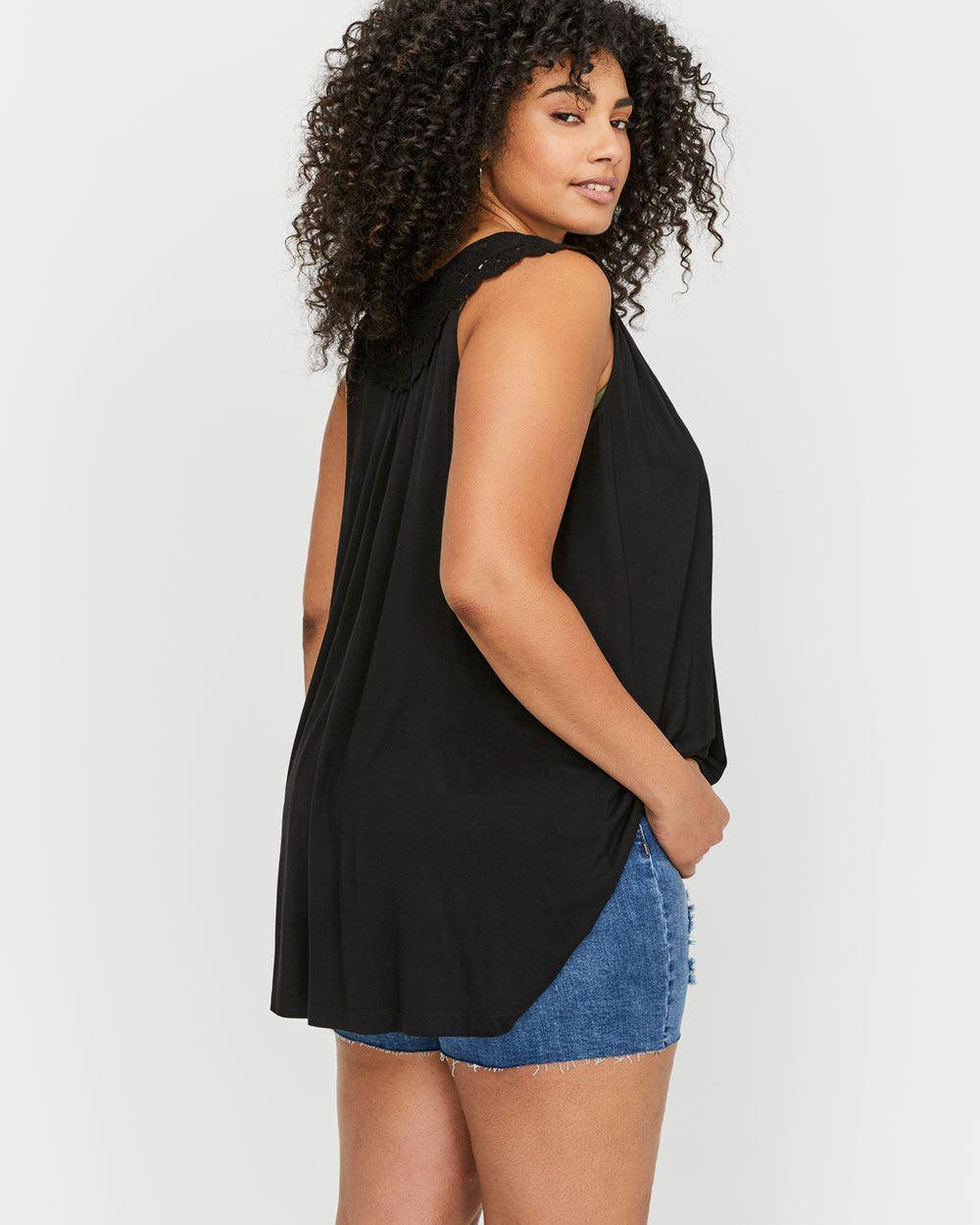 197c3920c41 Addition Elle Michel Studio Sleeveless Lace Trim Cardigan in Black ...