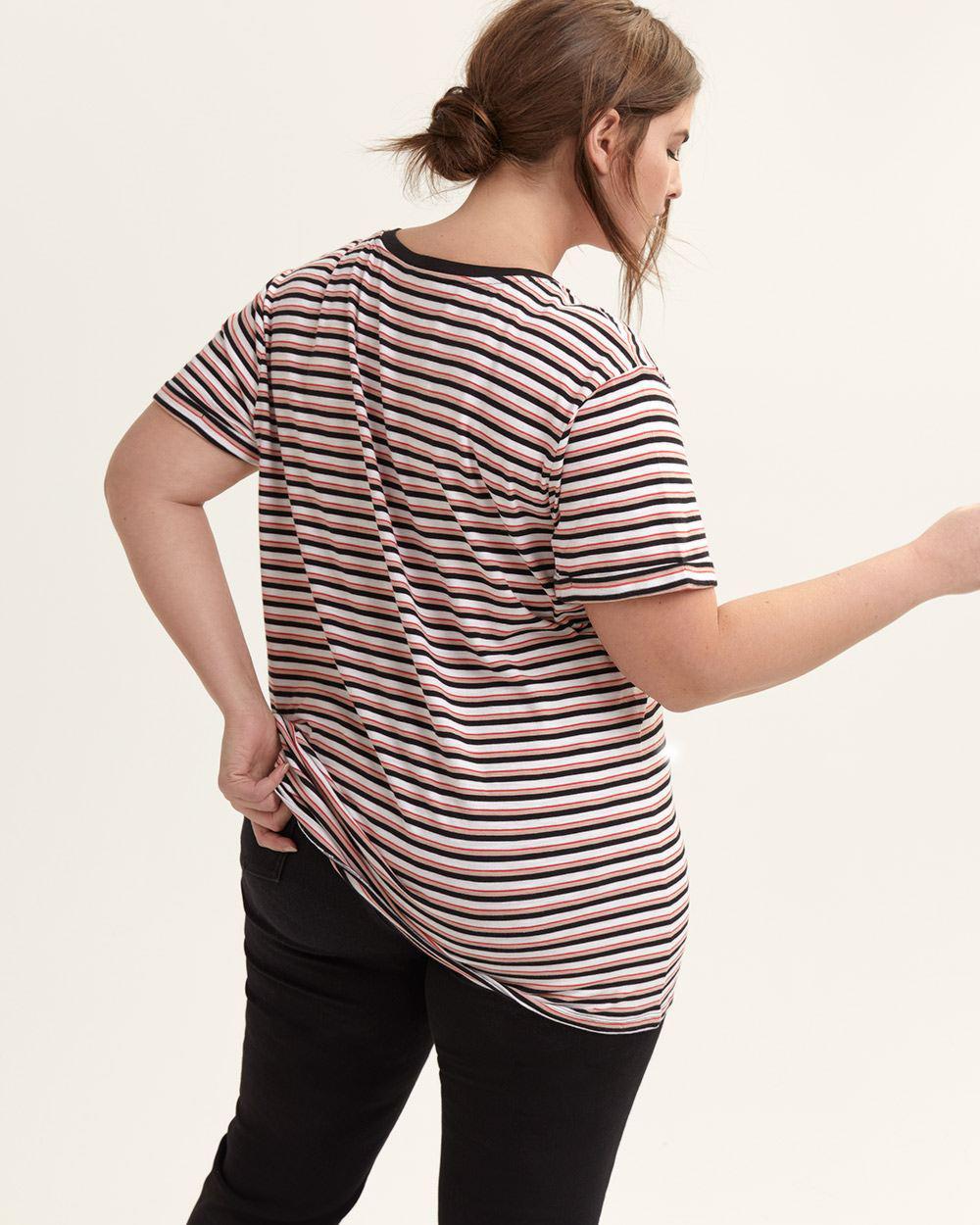fab0319f001 Lyst - Addition Elle Striped Boyfriend V-neck T-shirt - L l- L l
