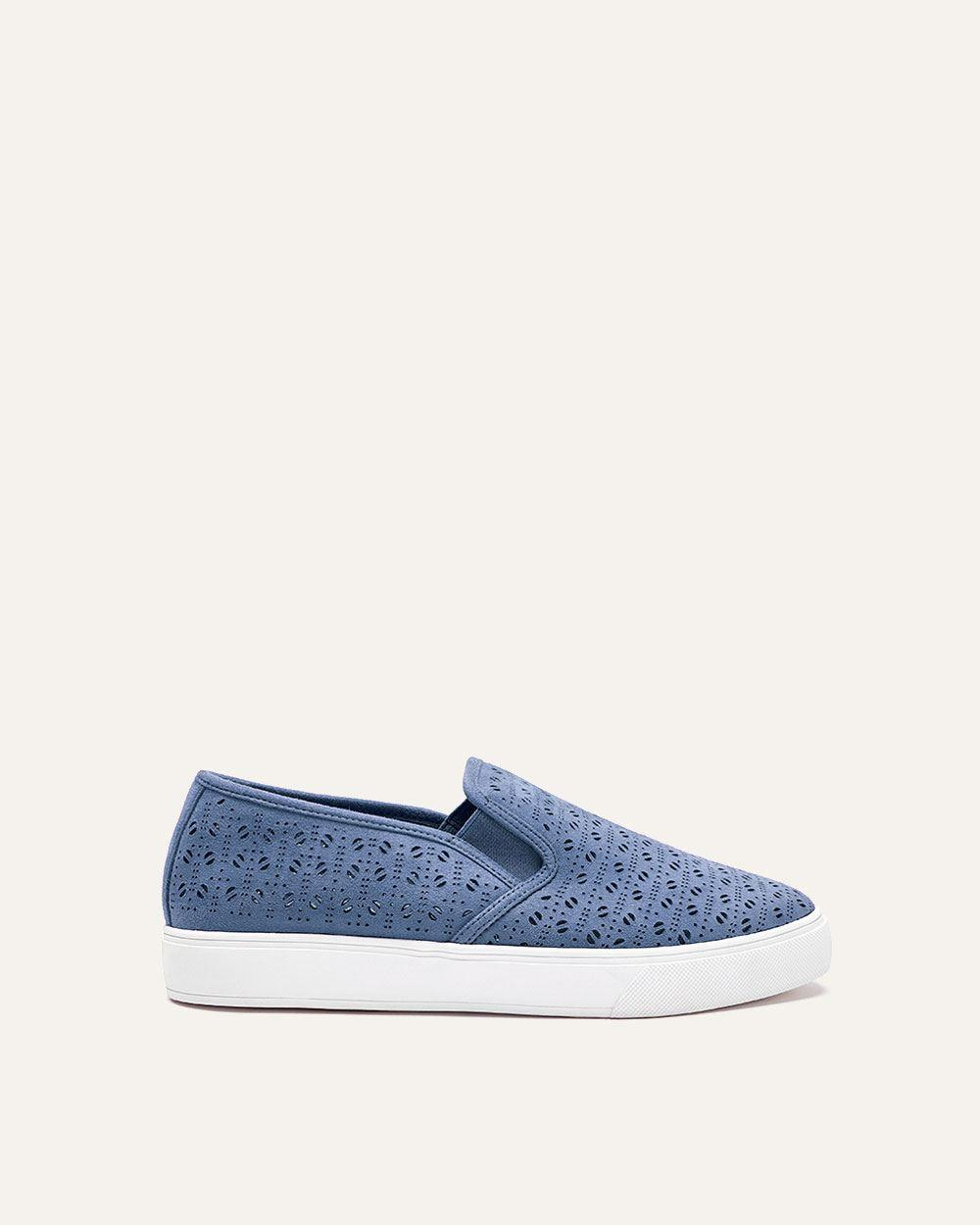 b0ec19c93ad Lyst - Addition Elle Wide Laser Cut Slip-on Sneakers in Blue