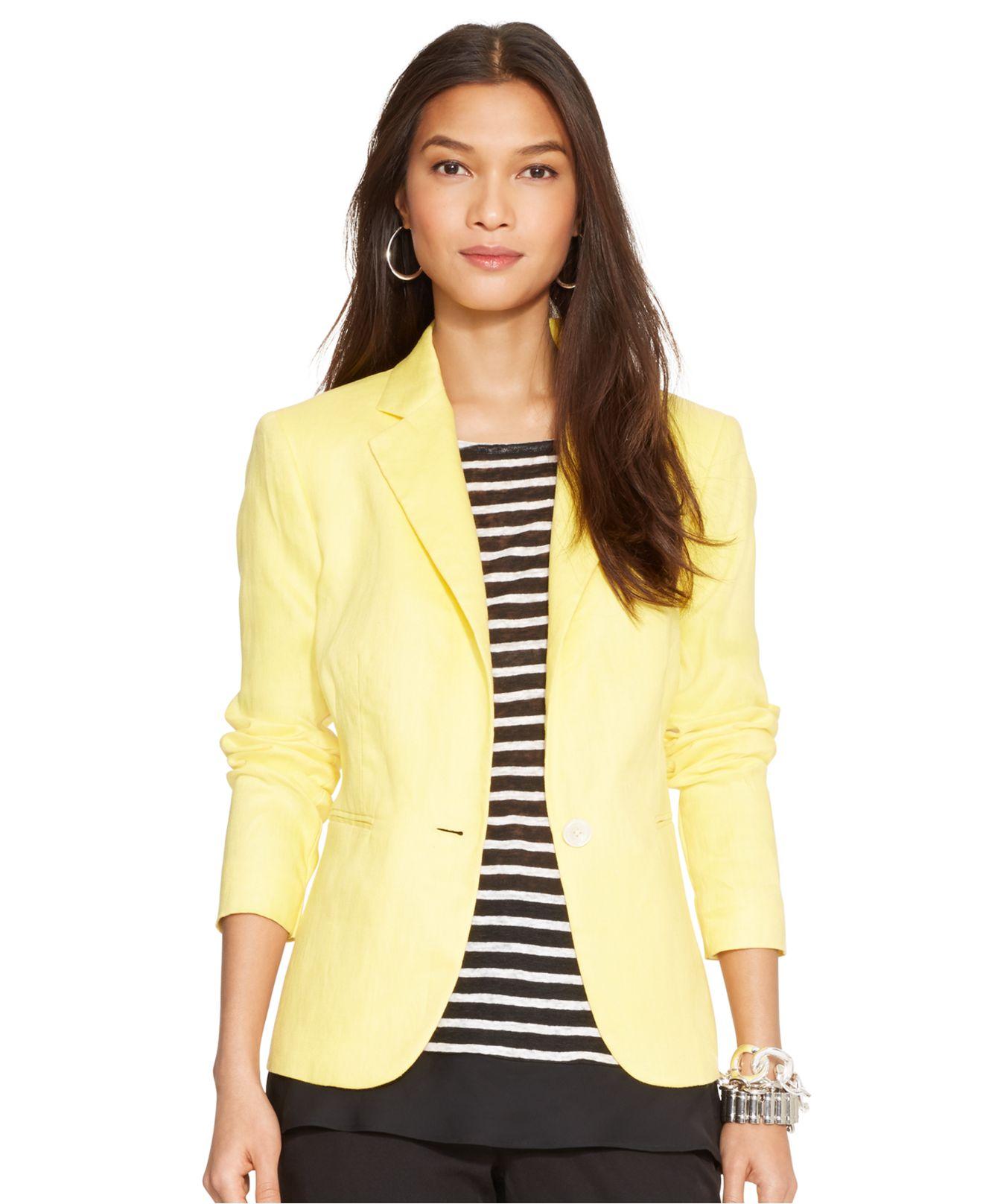 Lauren by ralph lauren Linen Jacket in Yellow | Lyst