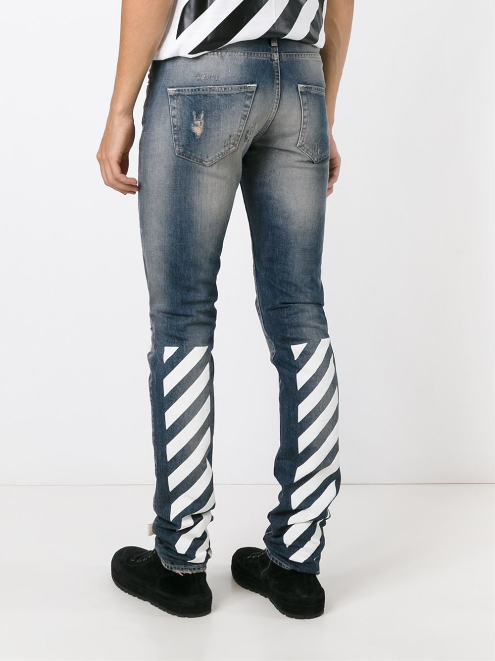 Off-white c/o virgil abloh Distressed Printed Slim Jeans in Blue ...
