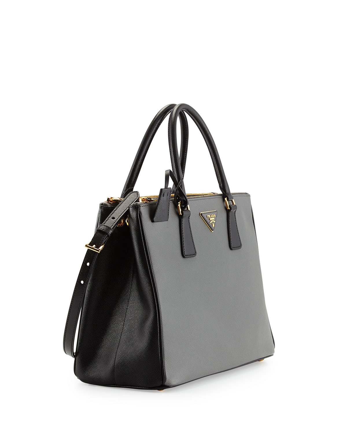 83b1df6d2c10 ... spain lyst prada saffiano lux bicolor double zip tote bag in gray 0d8e0  89692